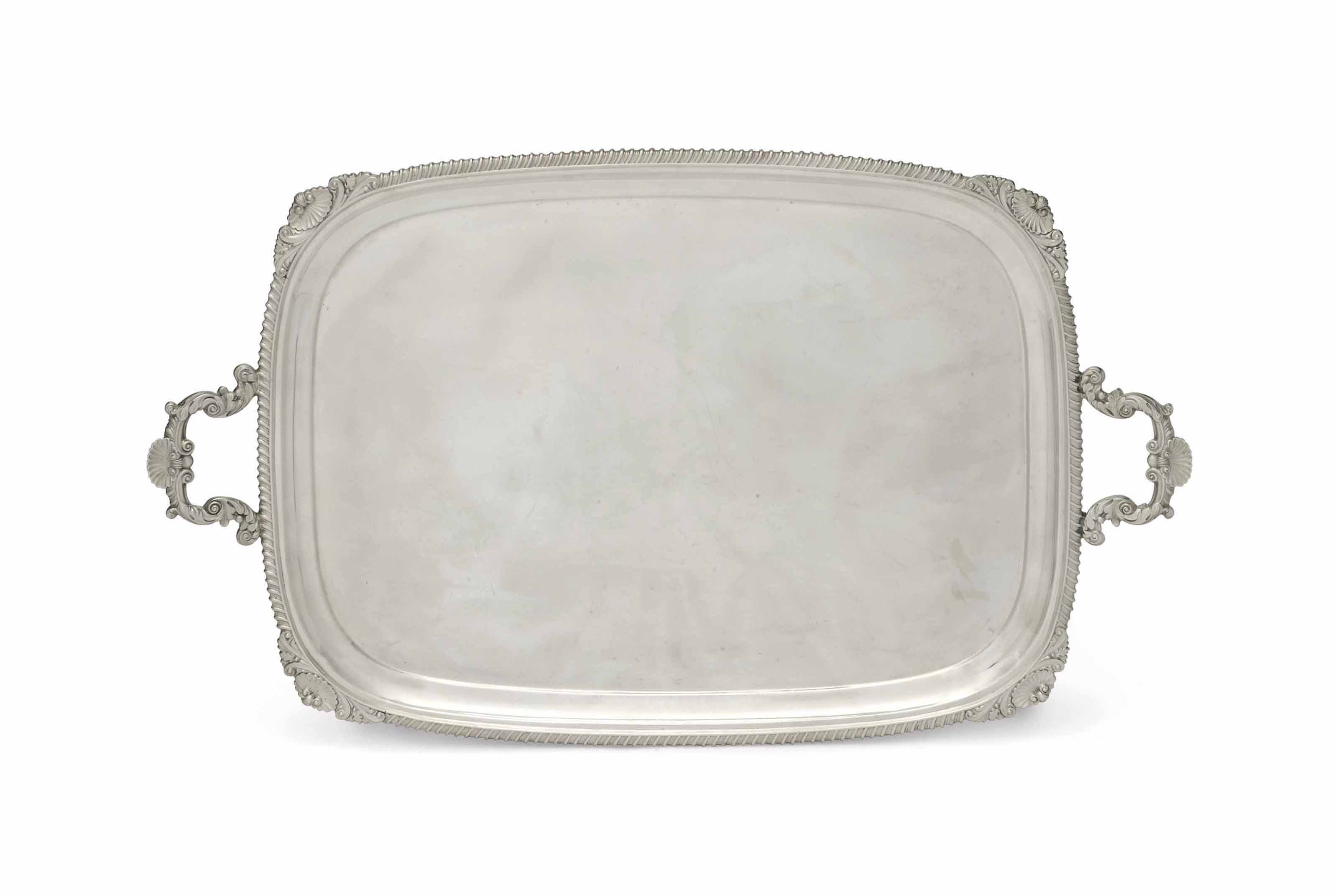 A LARGE EDWARDIAN PLAIN OBLONG SILVER TRAY