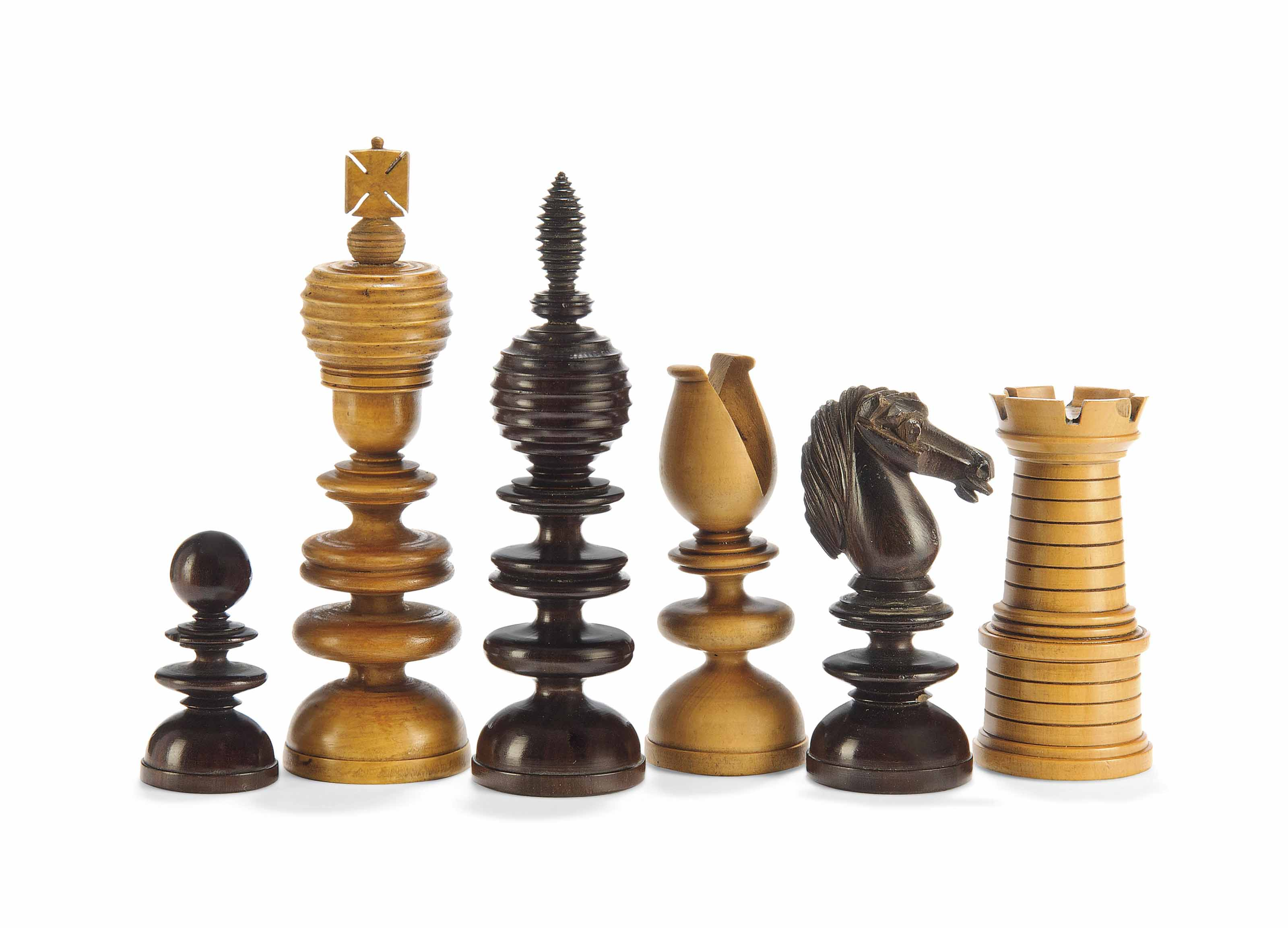 A LATE REGENCY TURNED AND CARVED BOXWOOD AND ROSEWOOD CHESS SET