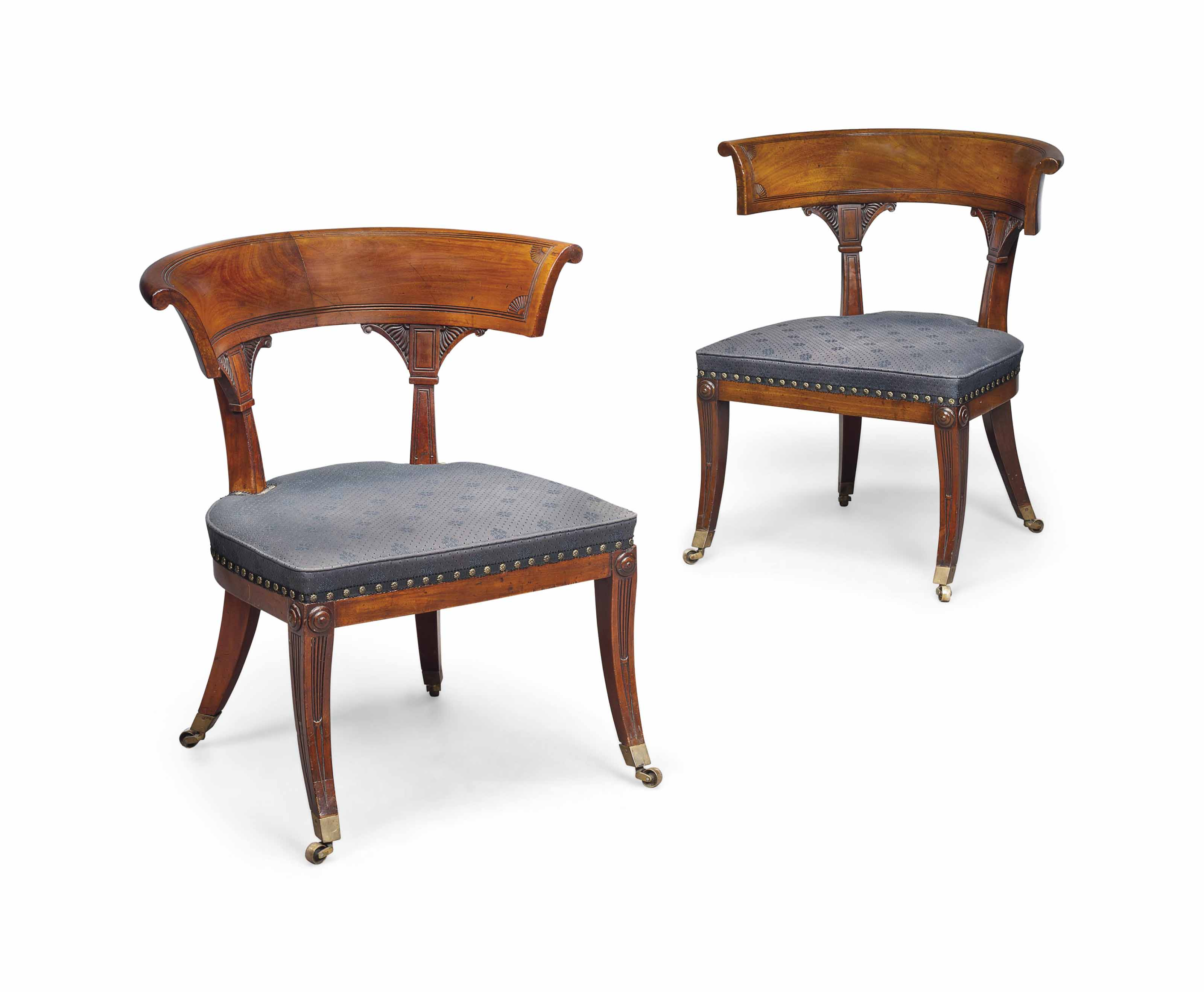 POSSIBLY SCOTTISH, ONE CHAIR REGENCY, THE OTHER OF A LATER DATE