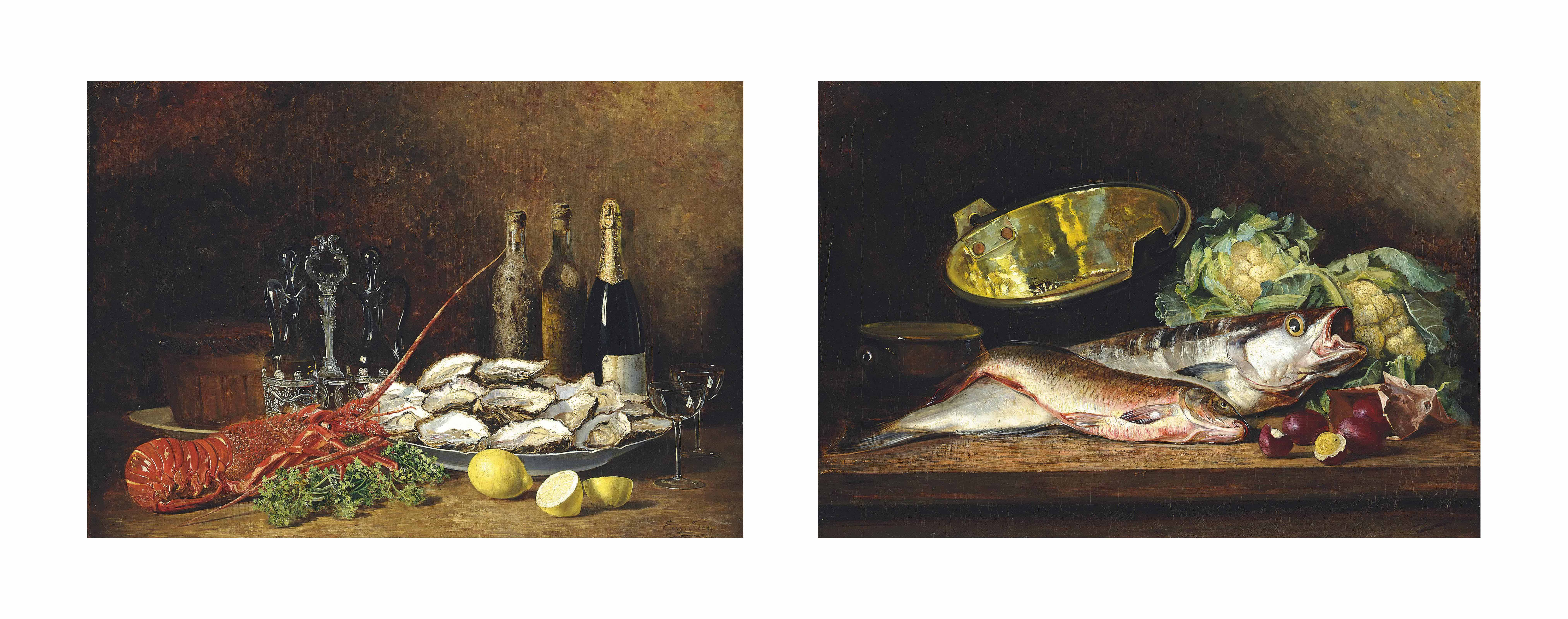 Lobster with champagne and oysters on a ledge; and Fish with cabbages on a ledge