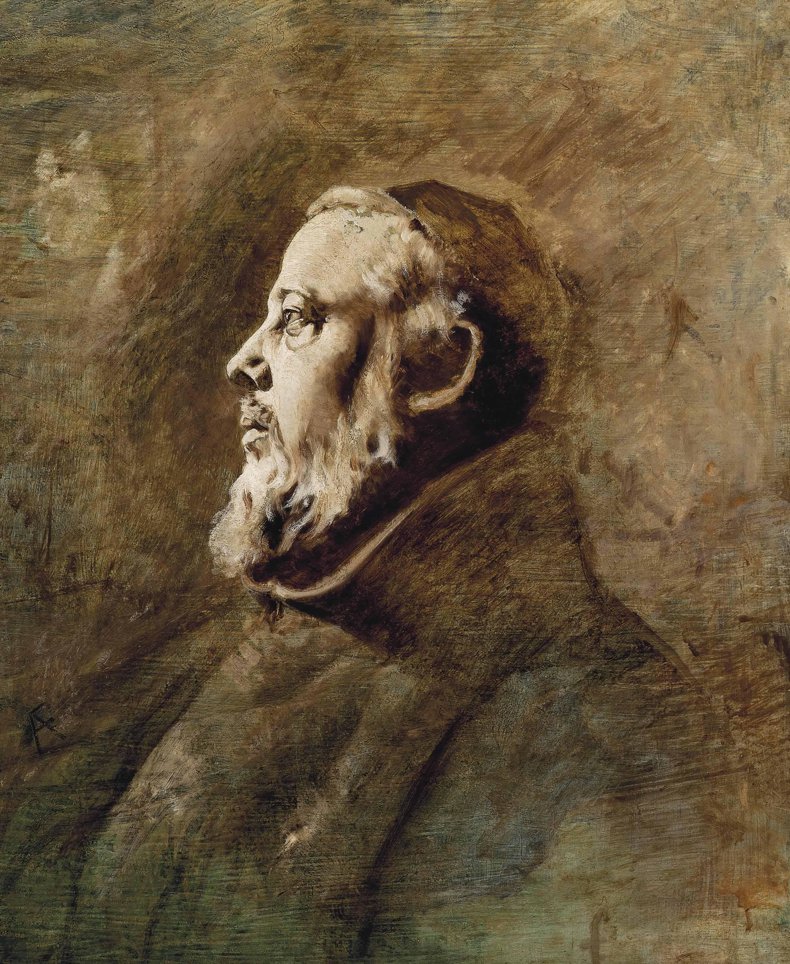 Bust portrait of a monk in profile