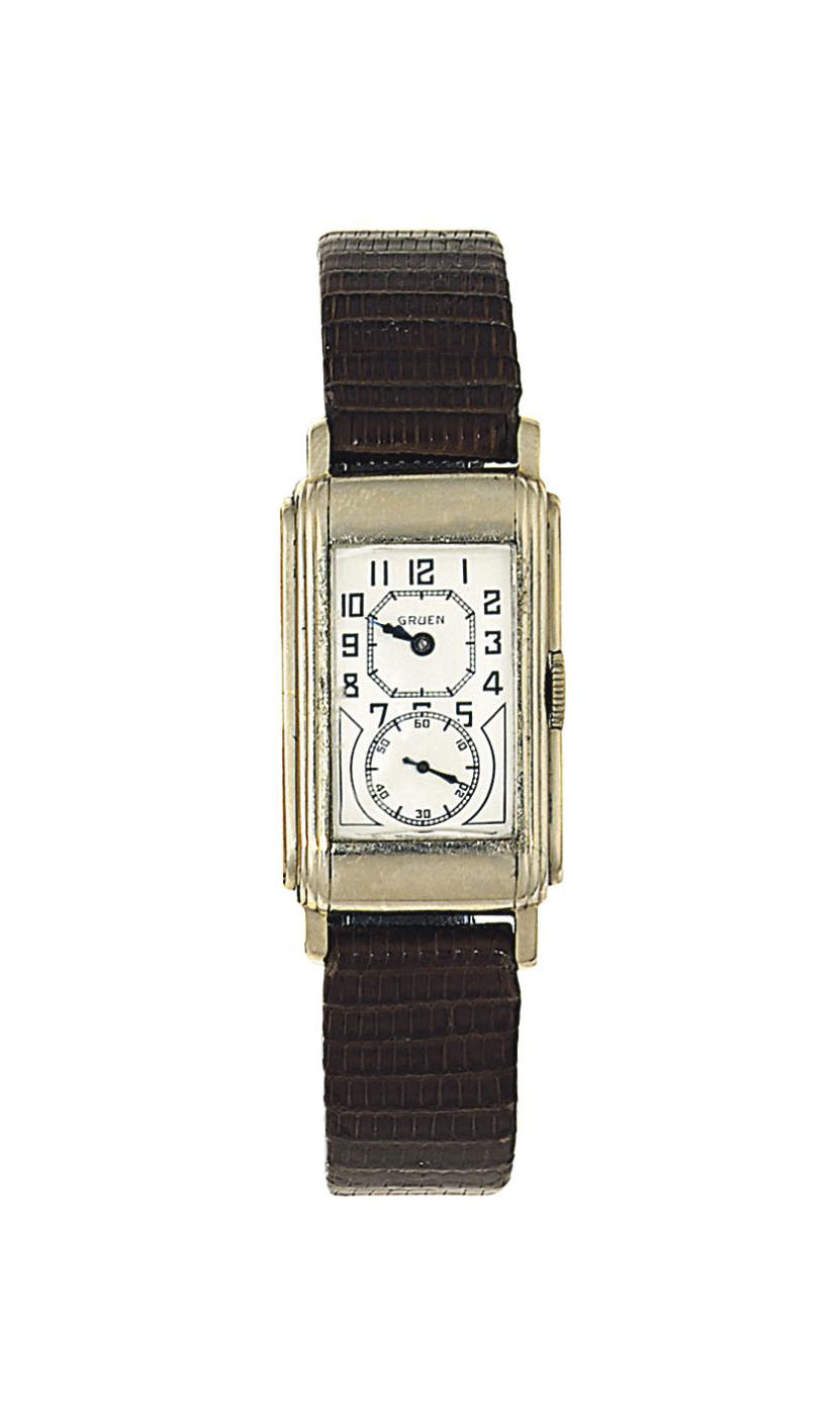 An Art Deco white gold wristwatch, by Gruen