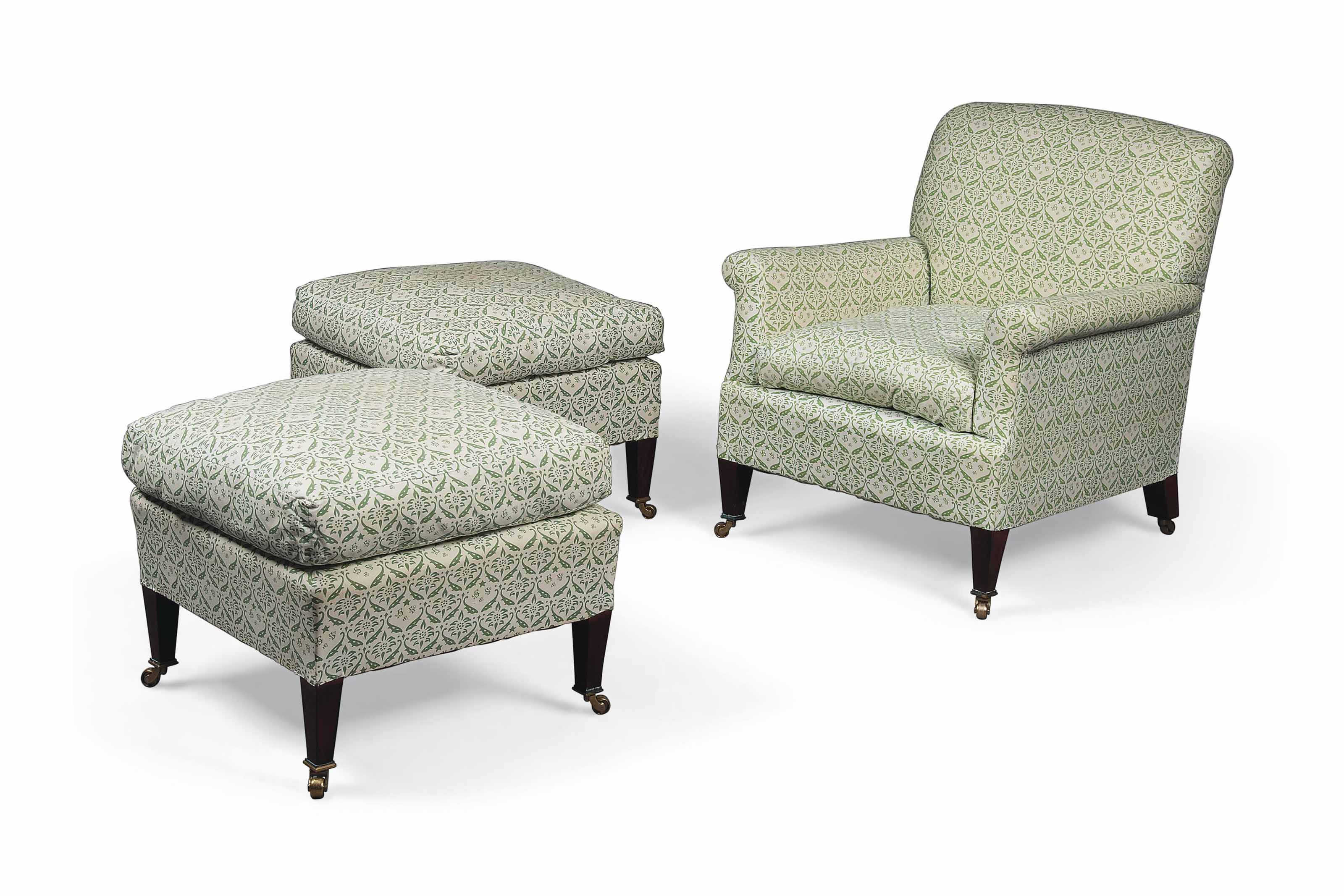 A PAIR OF BEECH STOOLS AND MATCHING ARMCHAIR