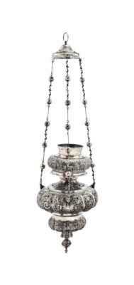 A LARGE SILVER THURIBLE OR CEN