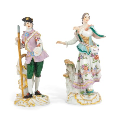 TWO MEISSEN FIGURES OF A MAN A