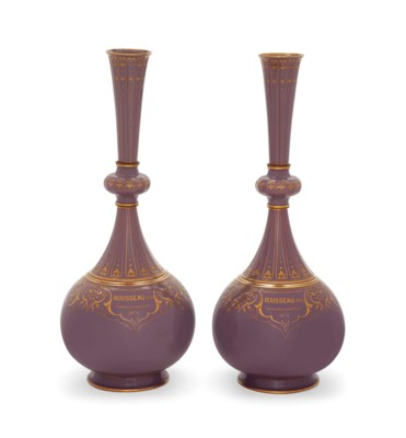 A PAIR OF SEVRES LAVENDER-GREY