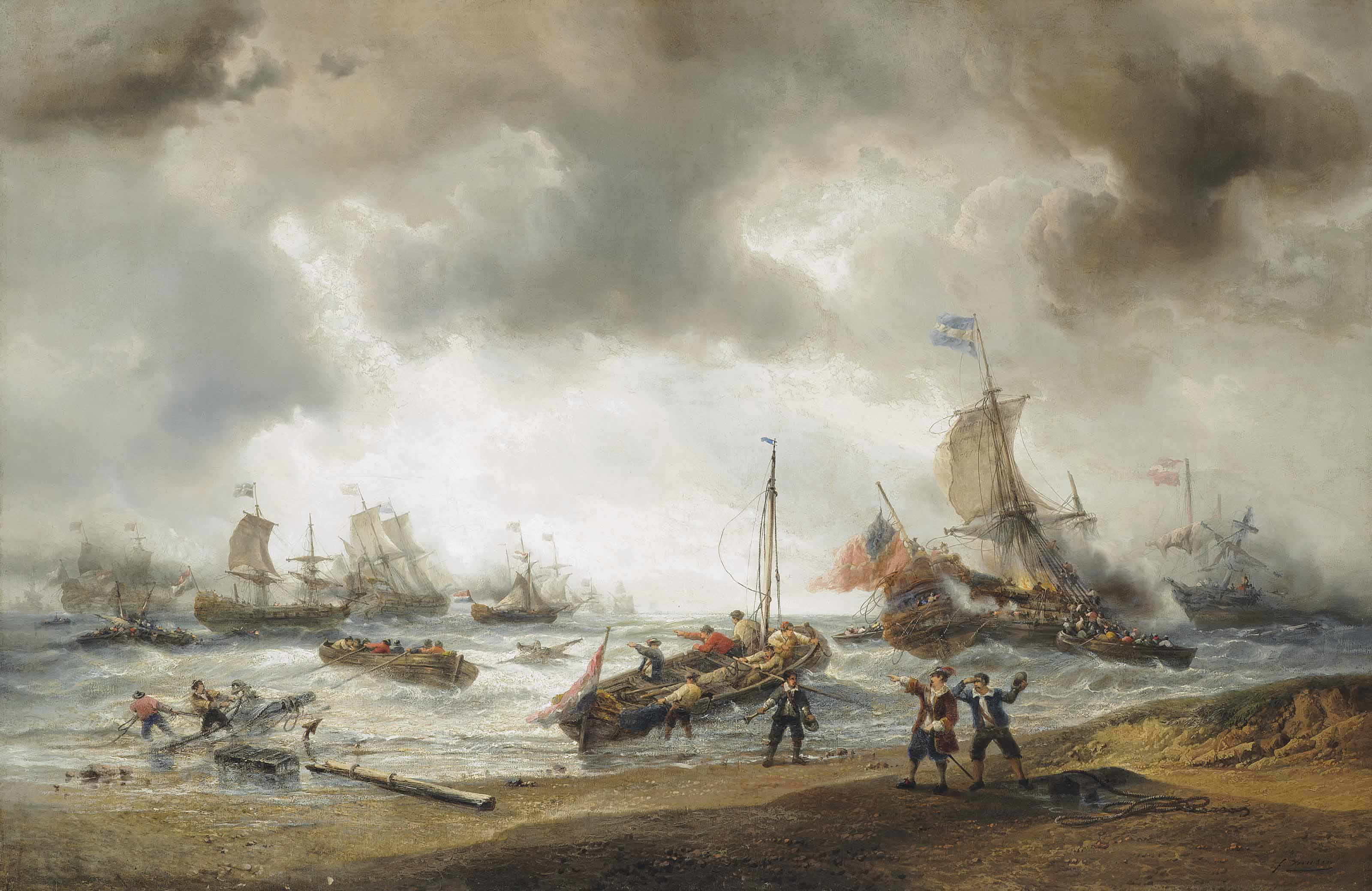 The closing stages of one of the battles in the Anglo-Dutch Wars