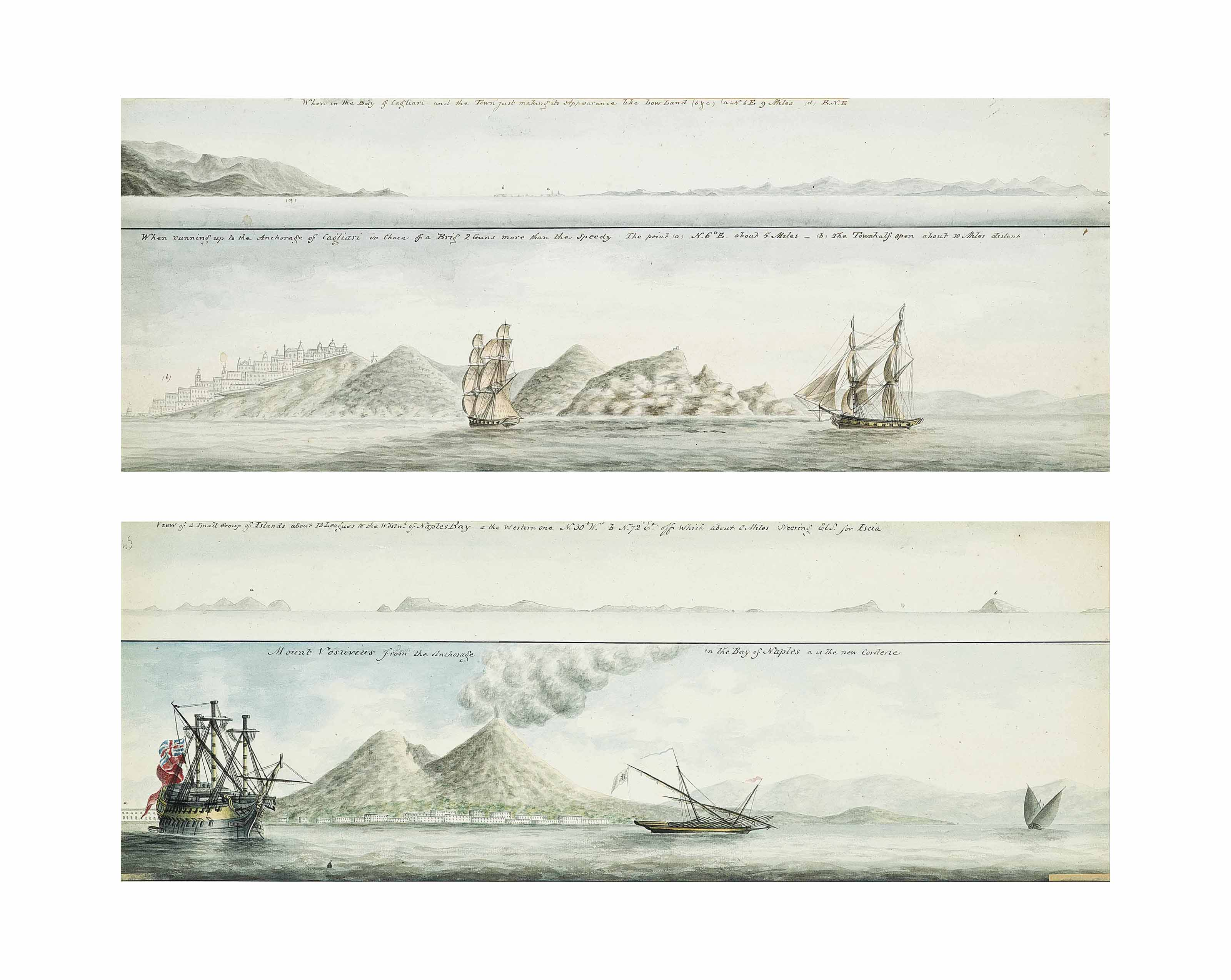 """The Bay of Cagliari, Sardinia;  and The """"gallant little Speedy"""" in pursuit of an enemy (French [?]) brig running for the shelter of Cagliari, on the Sardinian coast, in the spring of 1800 (recto); and View of a small group of islands to the west of Naples Bay; and Mount Vesuvius from the anchorage in the Bay of Naples (verso) (all illustrated)"""