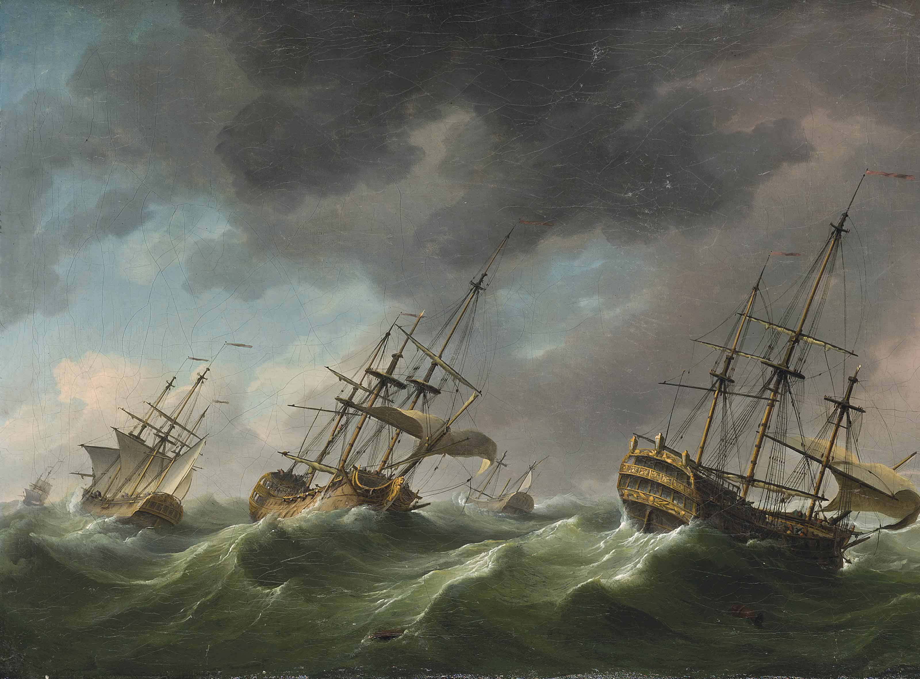 Men-o'-war reefed-down and riding out a gale
