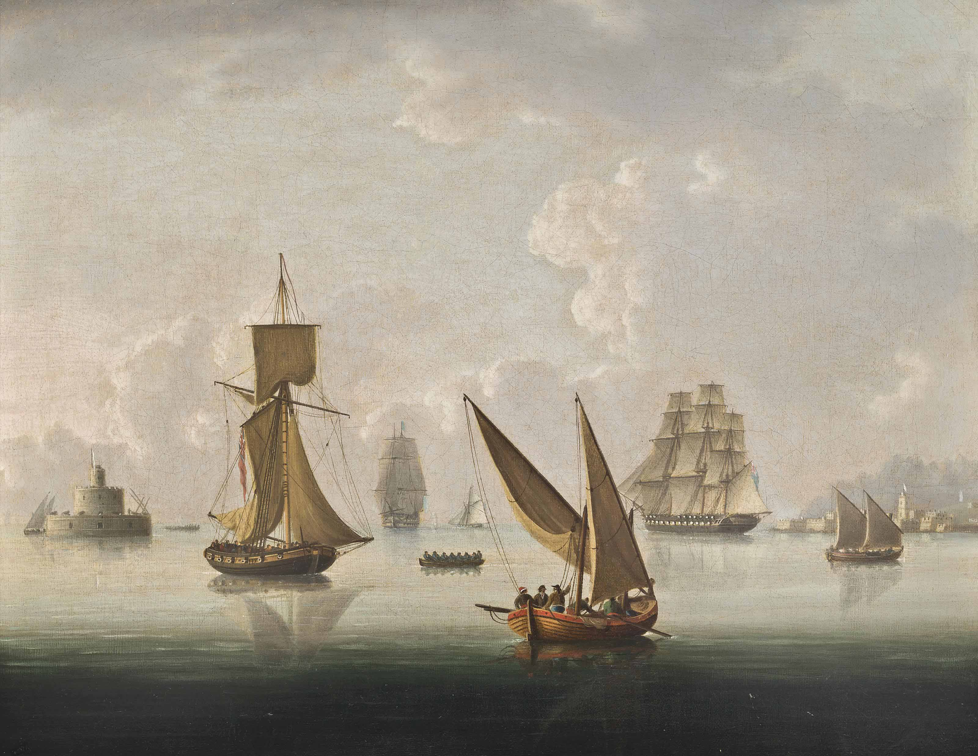 British warships, an armed cutter and xebecs becalmed on the Tagus, Lisbon