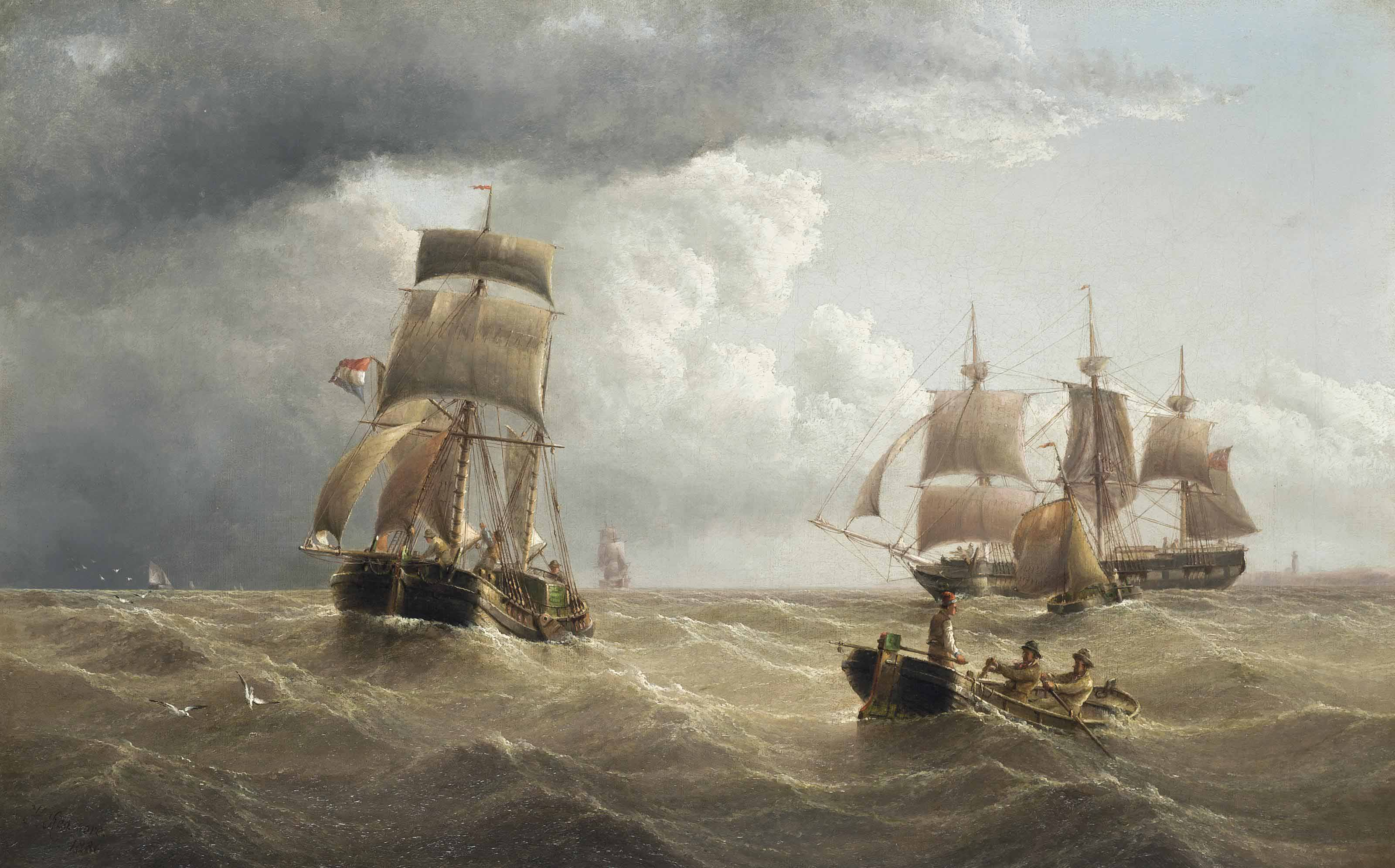 A British armed merchantman and a Dutch barge in coastal waters