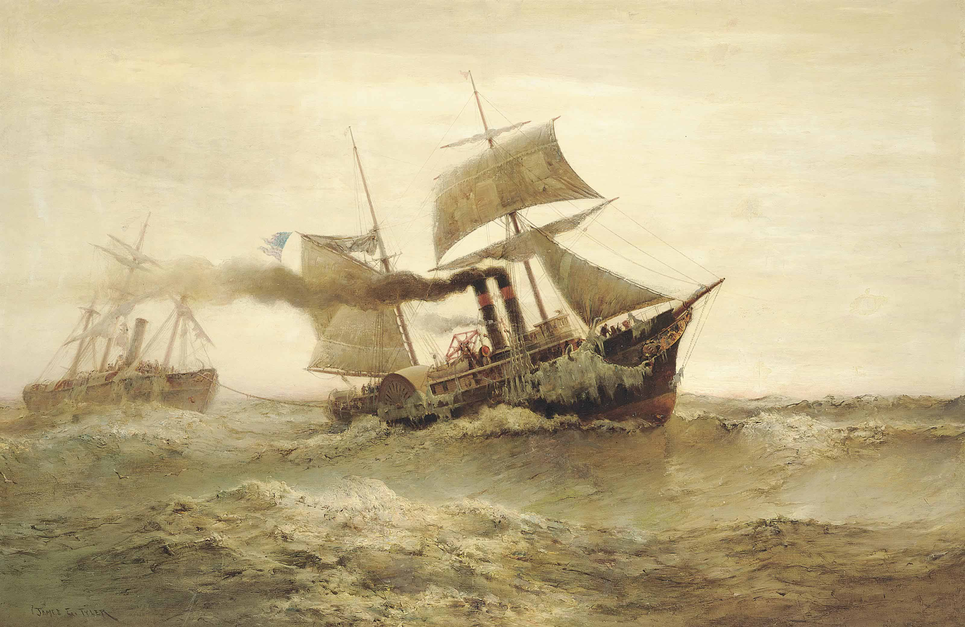 Overdue: An American paddle tug towing in a storm-damaged steamer