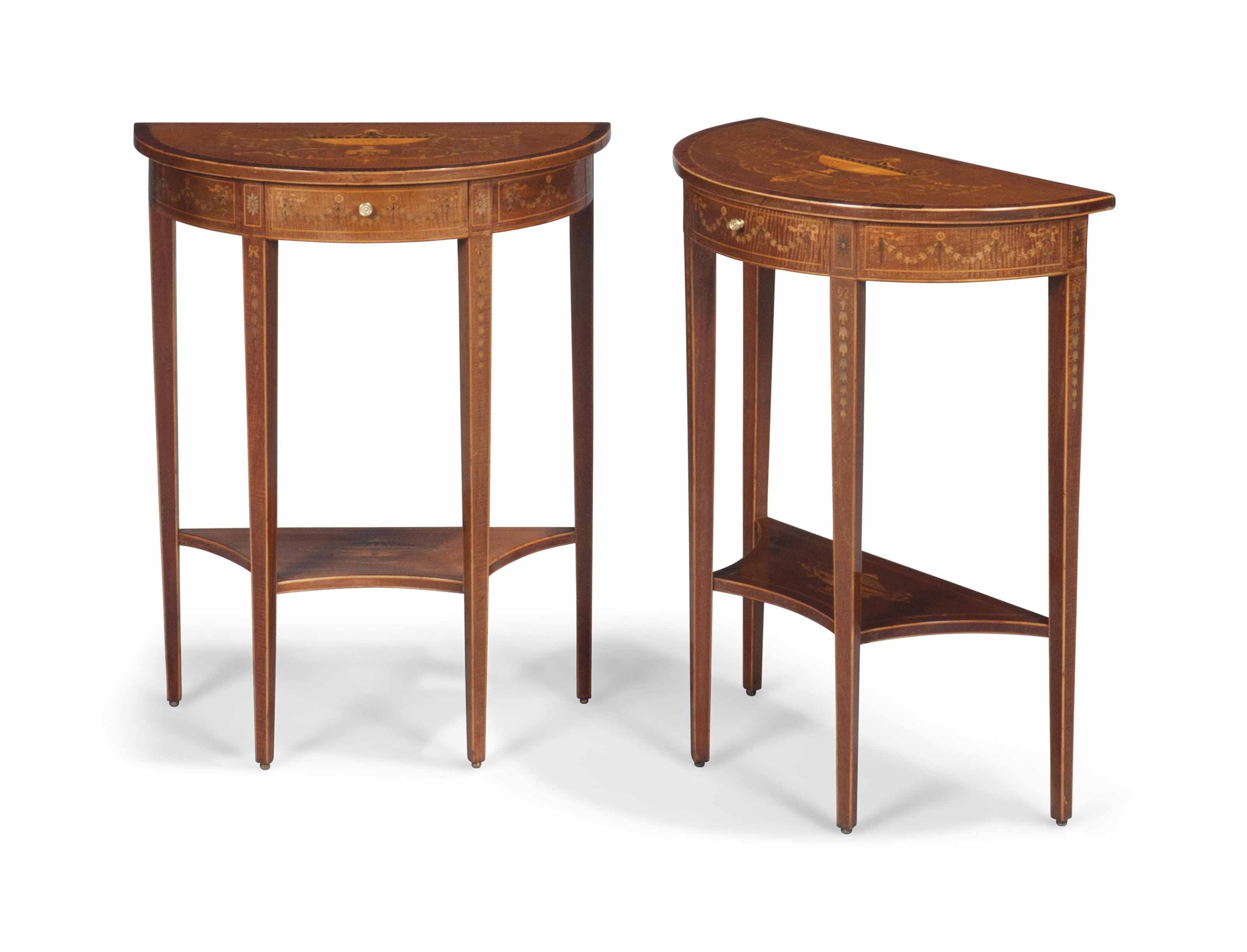 A PAIR OF LATE VICTORIAN FIDDLEBACK MAHOGANY AND MARQUETRY SIDE TABLES