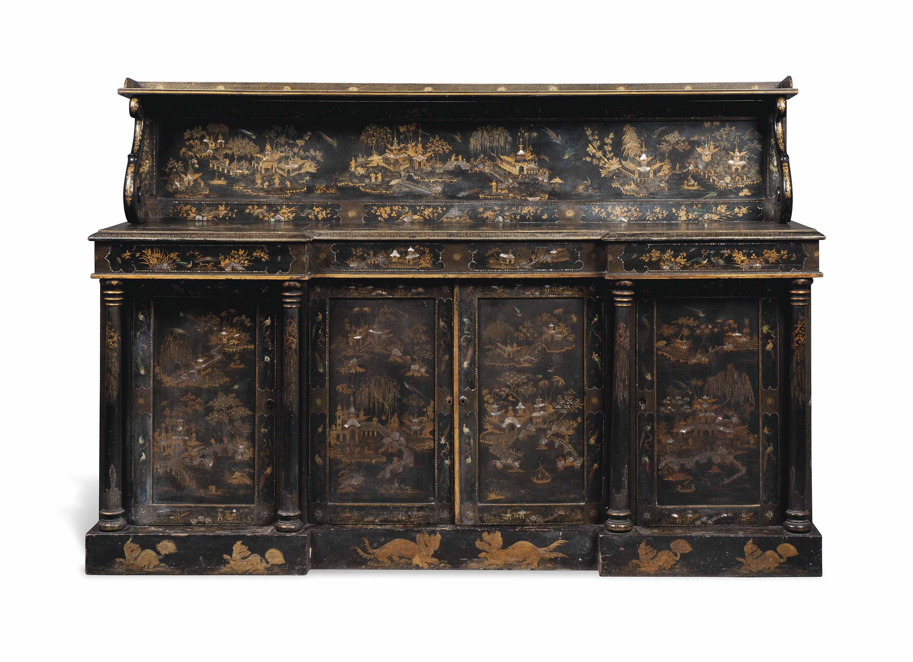 A WILLIAM IV MOTHER-OF-PEARL-INLAID BLACK AND GILT-JAPANNED PAPIER-MACHE SIDE CABINET