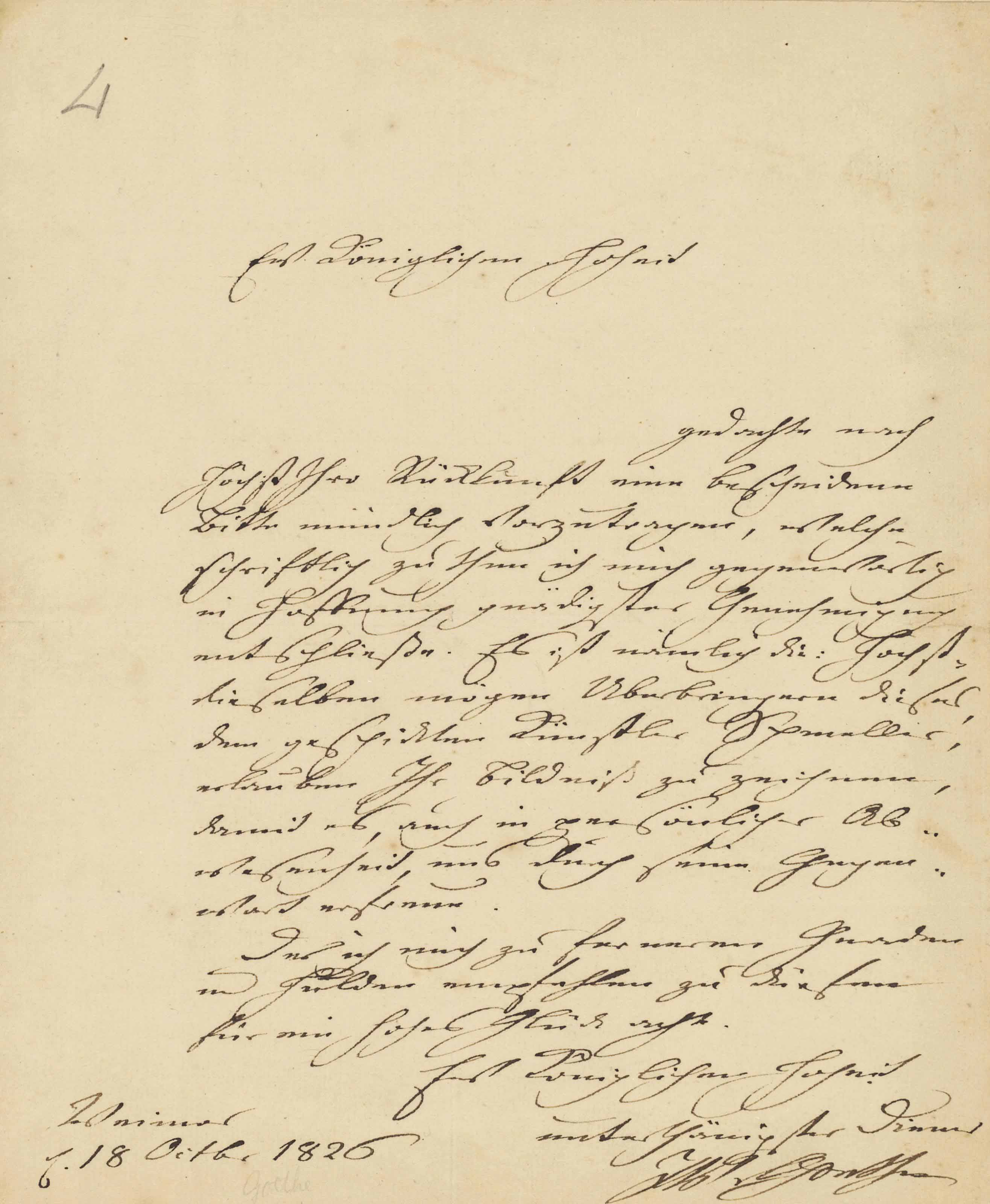 GOETHE, Johann Wolfgang von (1749-1832). Letter signed ('J.W. v. Goethe') to an unidentified prince [Prince Bernhard of Saxe-Weimar-Eisenach], Weimar, 18 October 1826, courteously submitting a request that the recipient should allow the artist [Johann Joseph] Schmeller, the bearer of the letter, to draw his portrait, one page, 4to, laid onto an album leaf. Provenance: from the autograph collection of Sir Francis Clare Ford (1828-1899).
