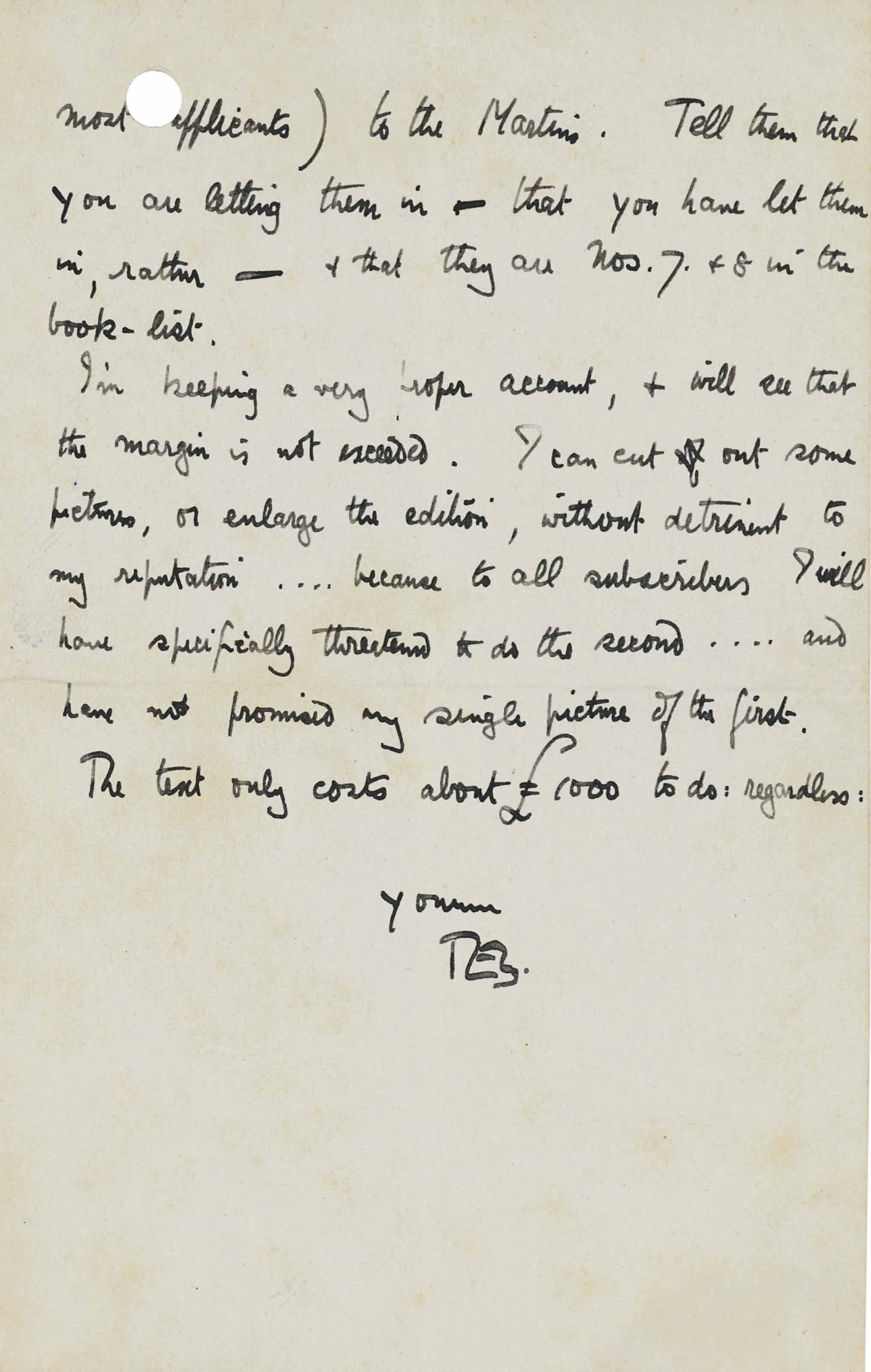 LAWRENCE, Thomas Edward (1888-1935). Autograph letter signed ('T.E.S.') to [Robin] Buxton, Clouds Hill, 28 July 1923, drafted on rectos, 2 pages, 8vo, bifolium (punch holes affecting the text in one place).