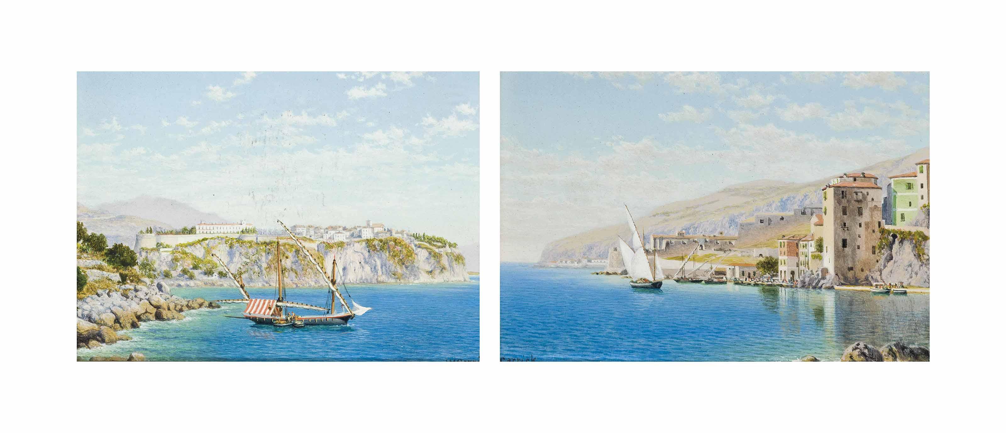 Fishermen off a rocky coastline, Italy; and The Italian Riveria