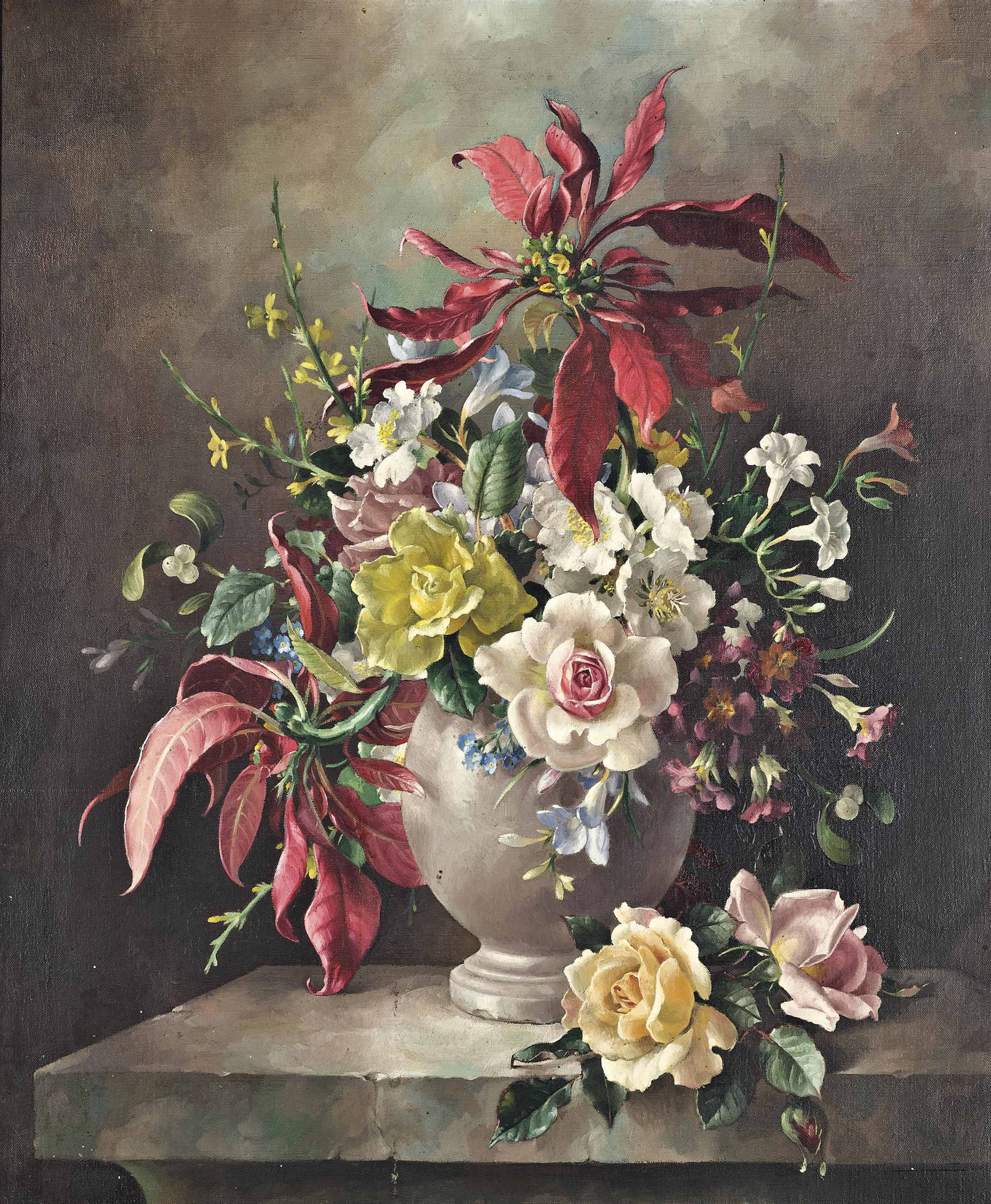 Roses, dog roses, freesias, primroses, forget-me-nots, and poinsettias in an urn
