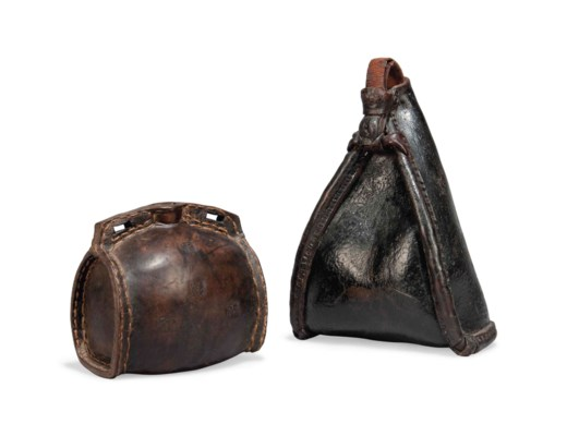 AN ENGLISH LEATHER BOTTLE AND
