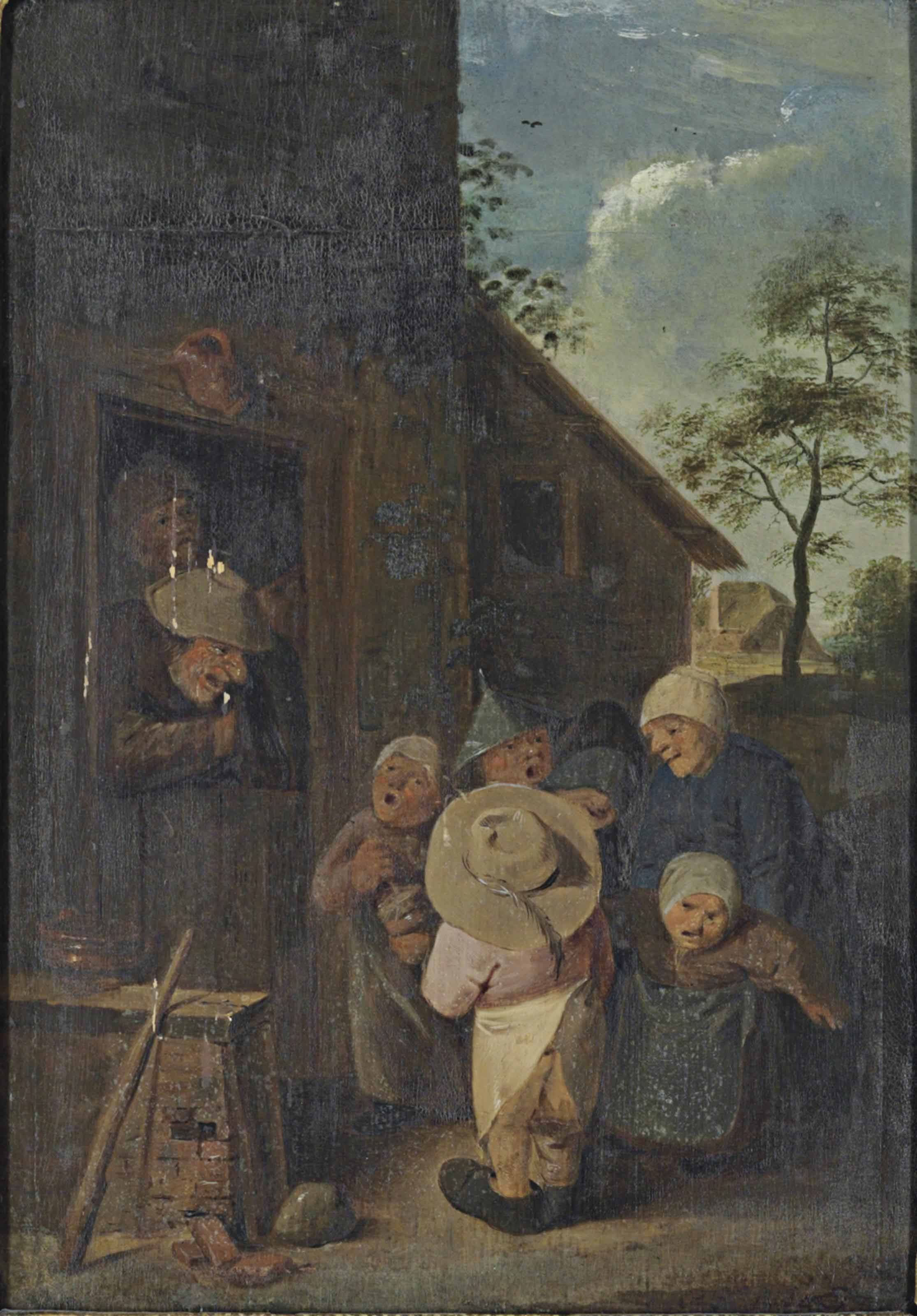 Peasants making music outside an inn