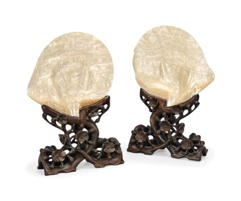 A PAIR OF CHINESE CARVED MOTHE