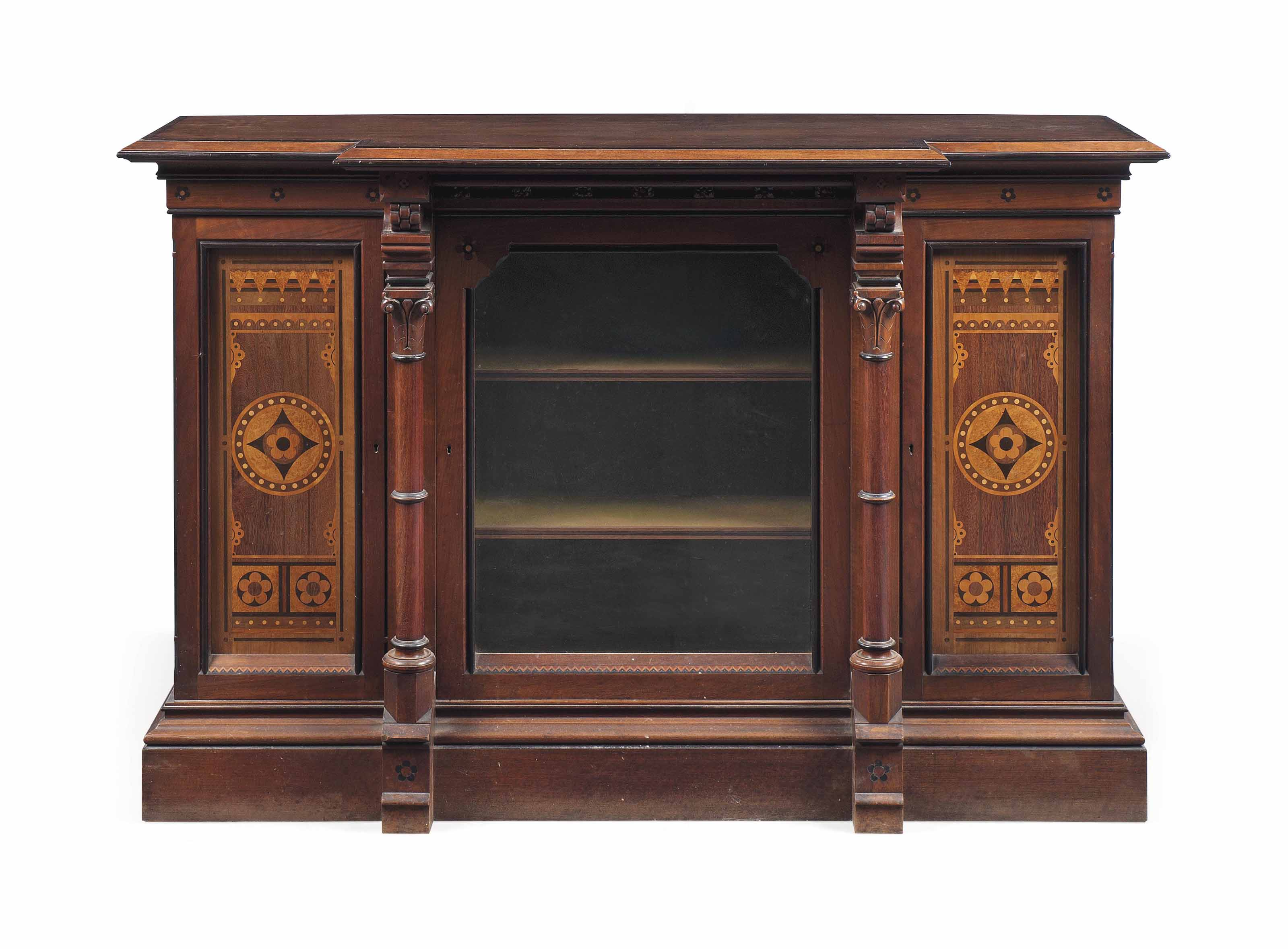 A VICTORIAN GOTHIC REVIVAL SOLID WALNUT AND MARQUETRY SIDE CABINET