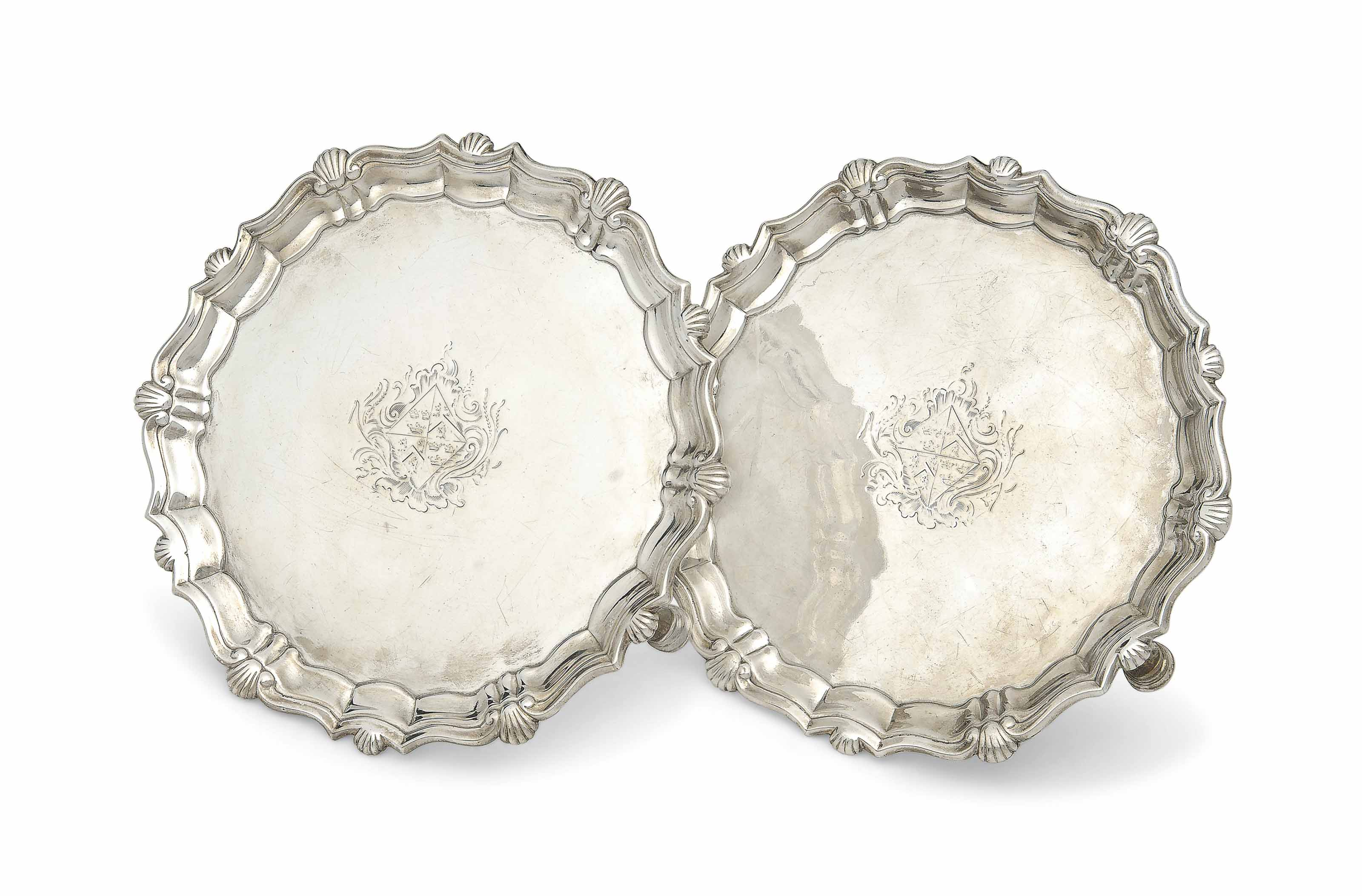 A PAIR OF SMALL GEORGE II SILVER SALVERS
