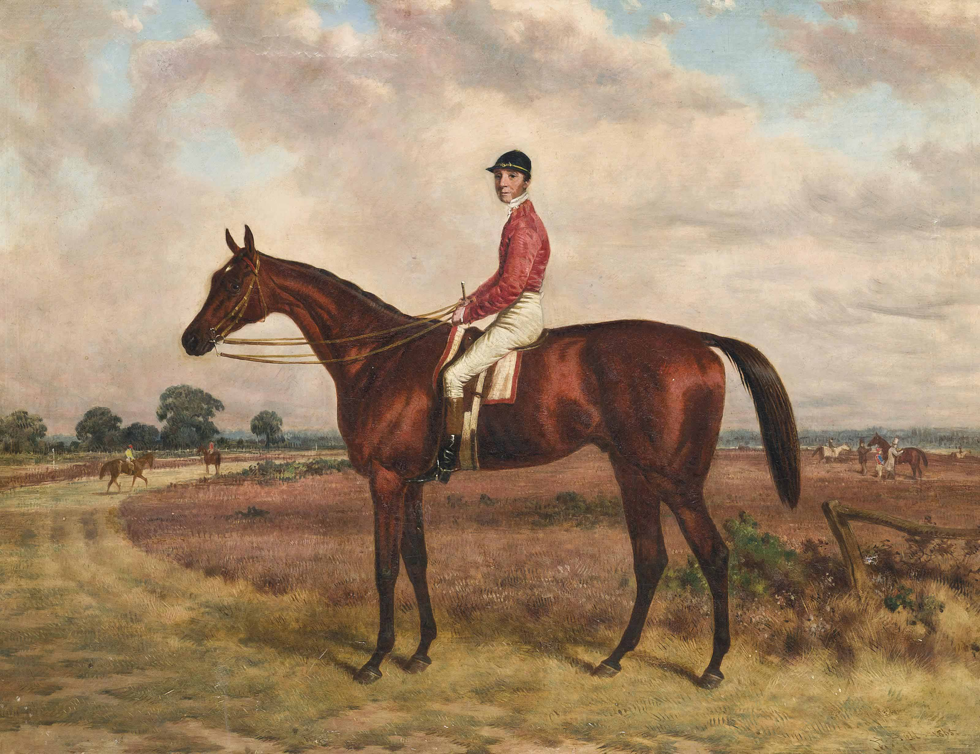 Bay racehorse, with jockey up