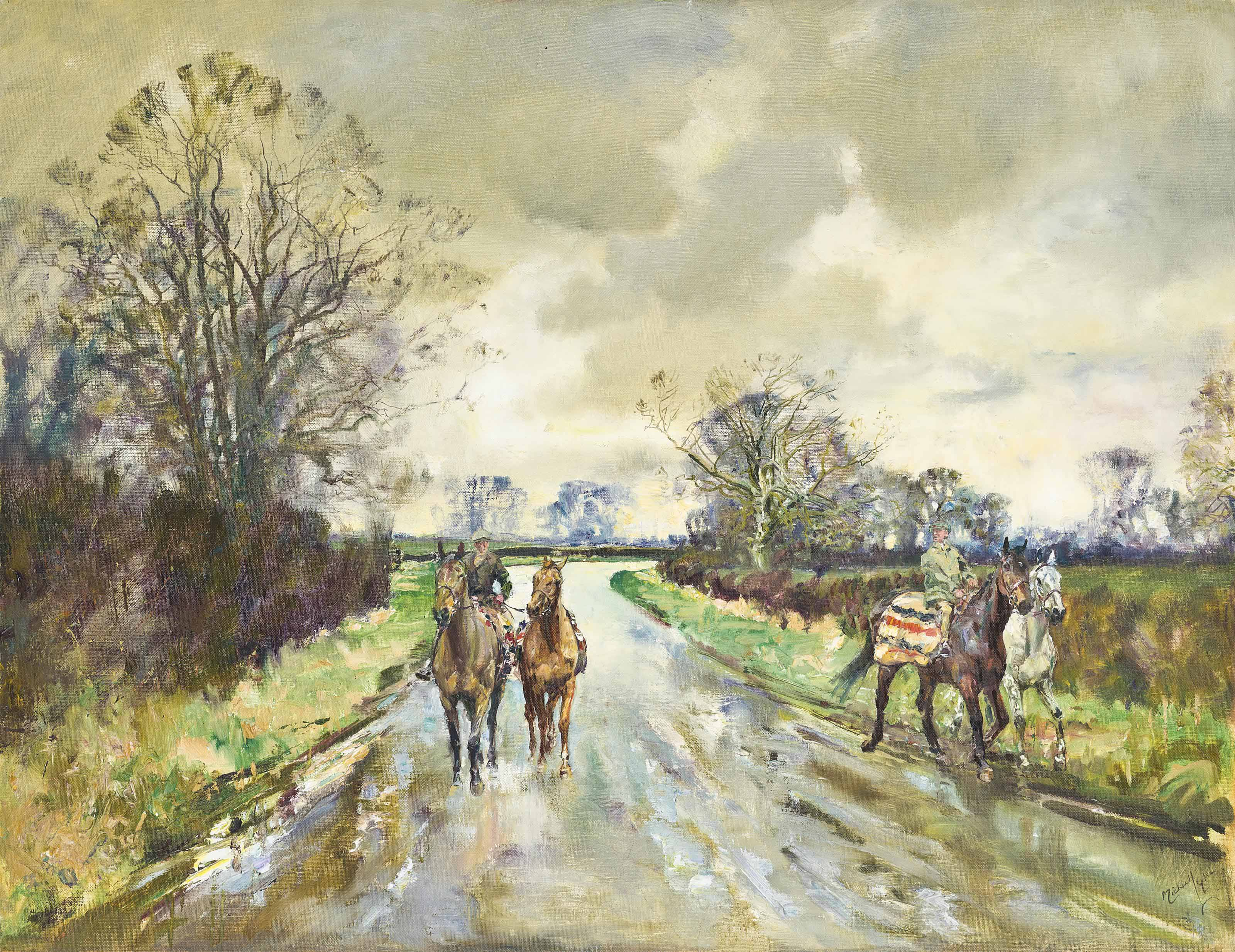 A December scene: Hunters at exercise