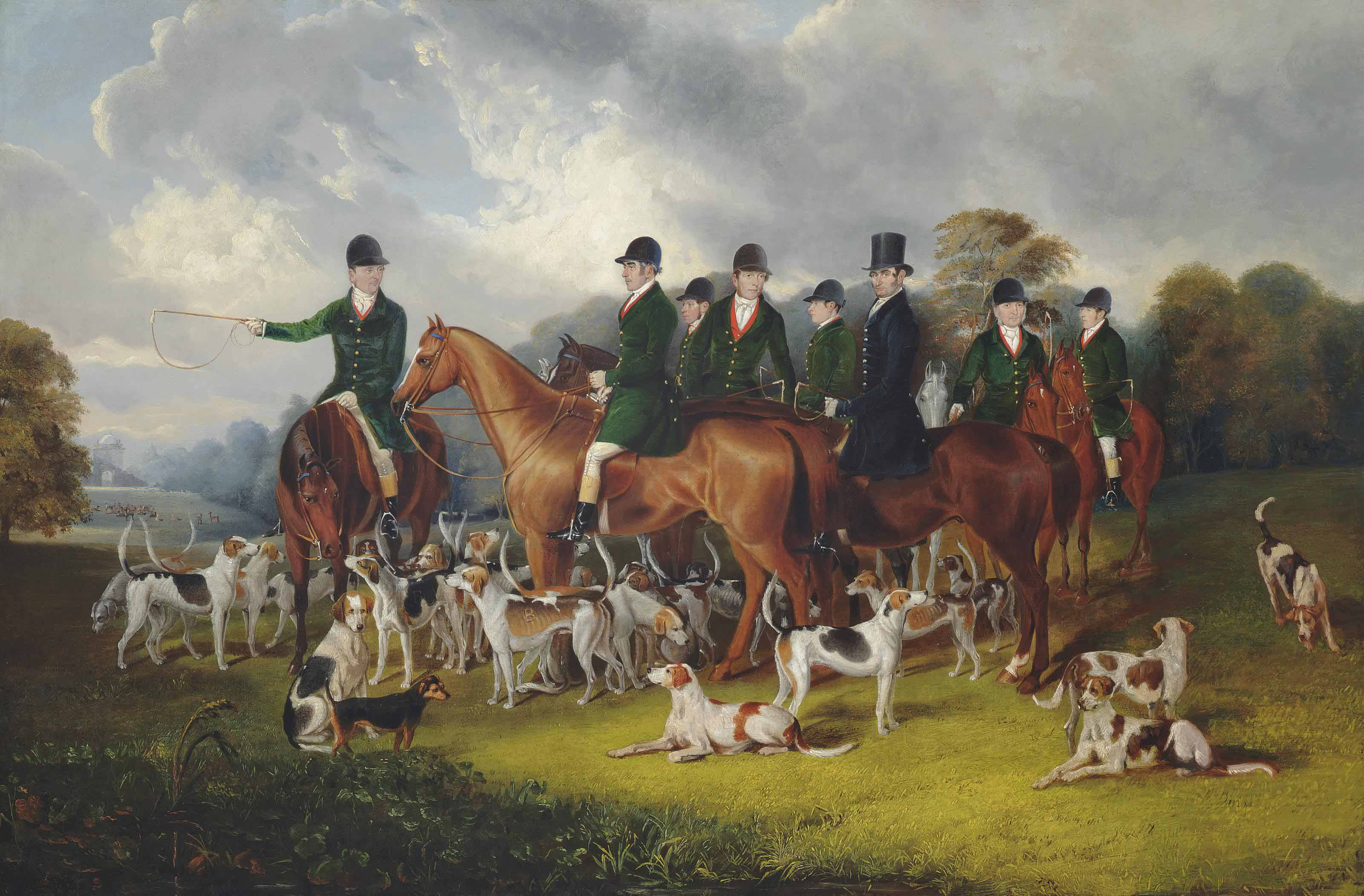The Beaufort Hunt at Badminton, with W. Long on Wandering Boy, Stanbury on Edith, C. Long on Nash, Davis Sen. on Merrydale, Davis Jun. on Wroughton, Wetherstone on Marble and Webb on Rough Robin