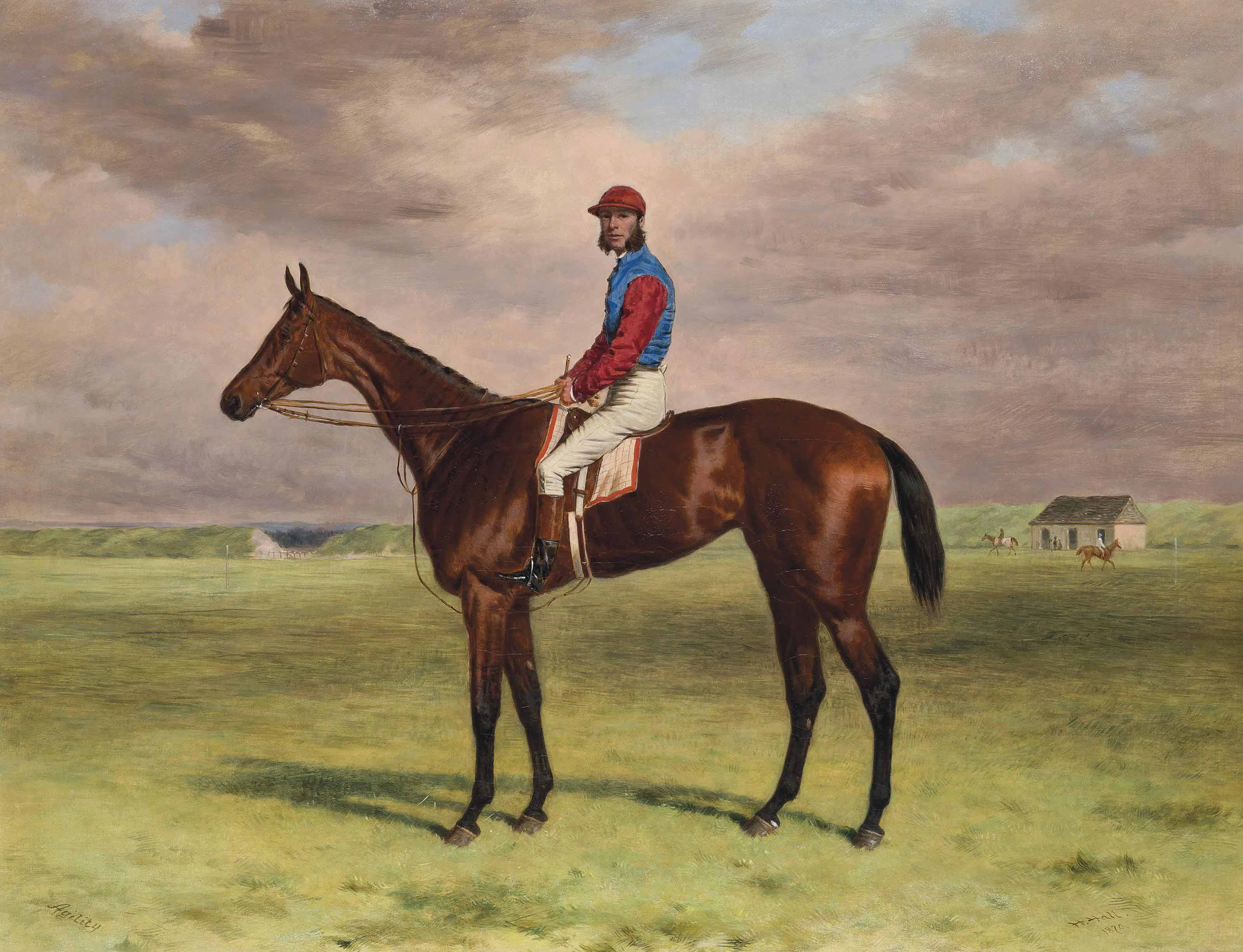 The Rev. John William King's ('Mr Launde's') bay filly Agility with jockey up at Newmarket