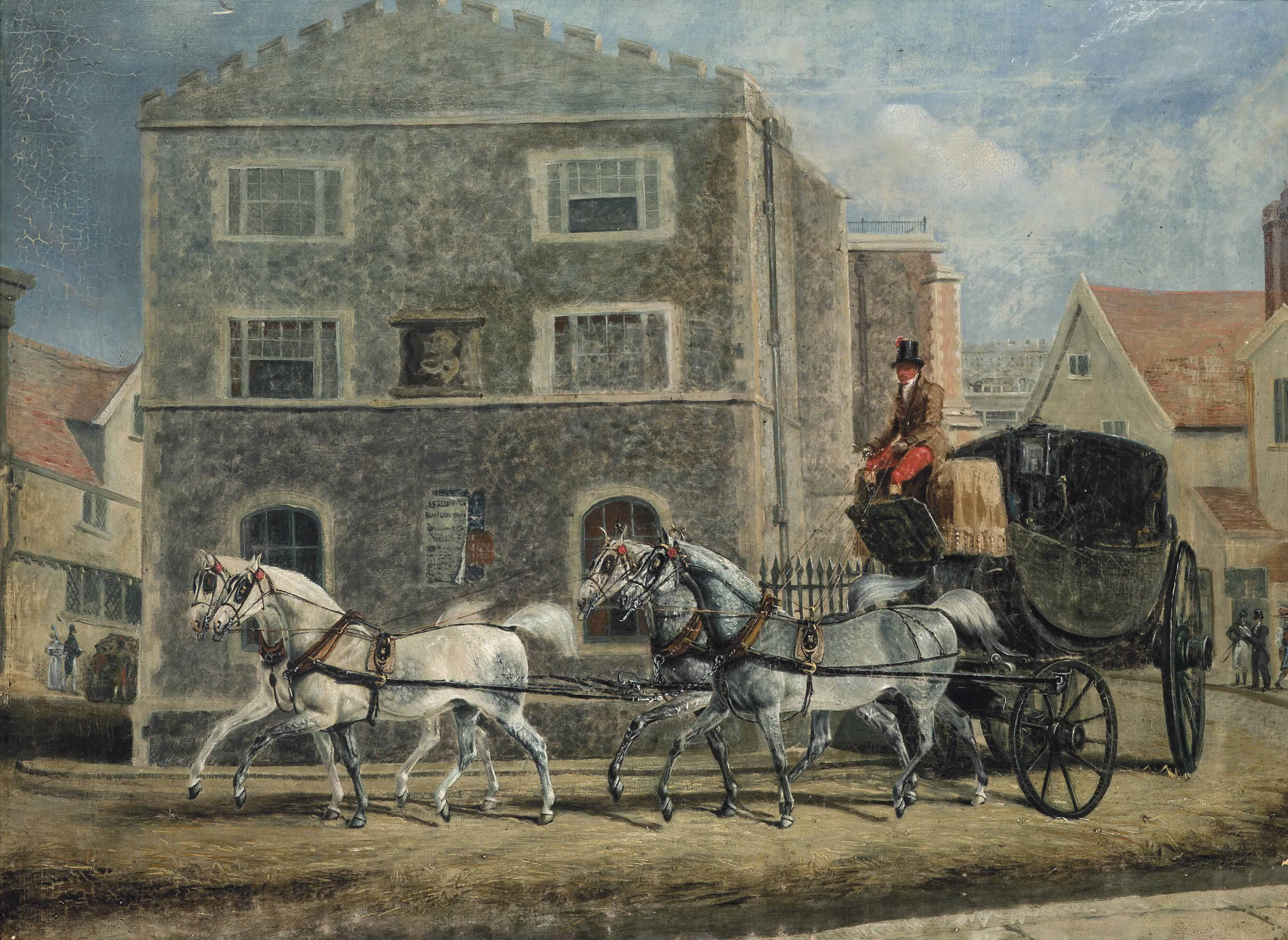 A carriage and four horses