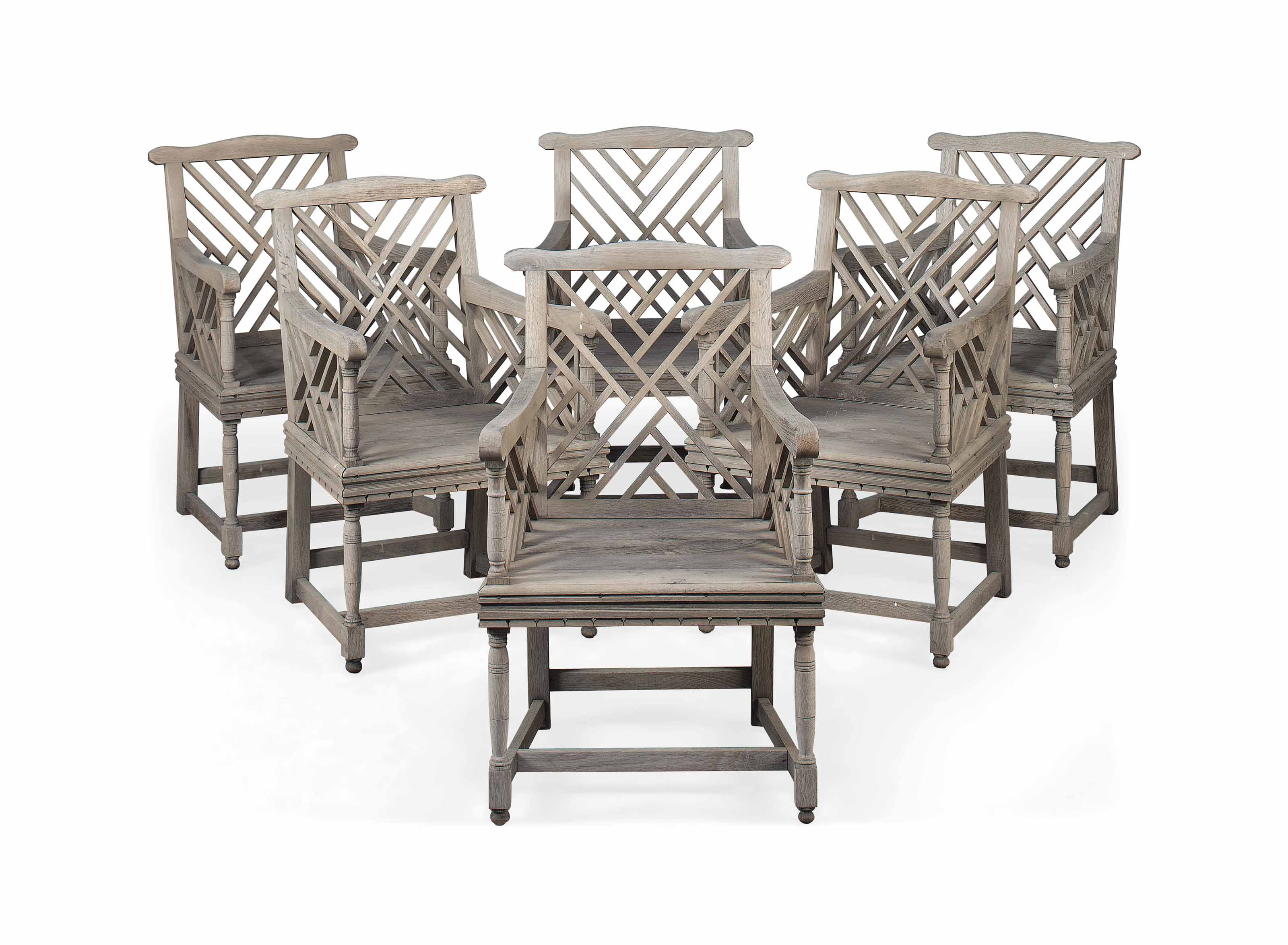 A SET OF SIX LIMED OAK GARDEN CHAIRS