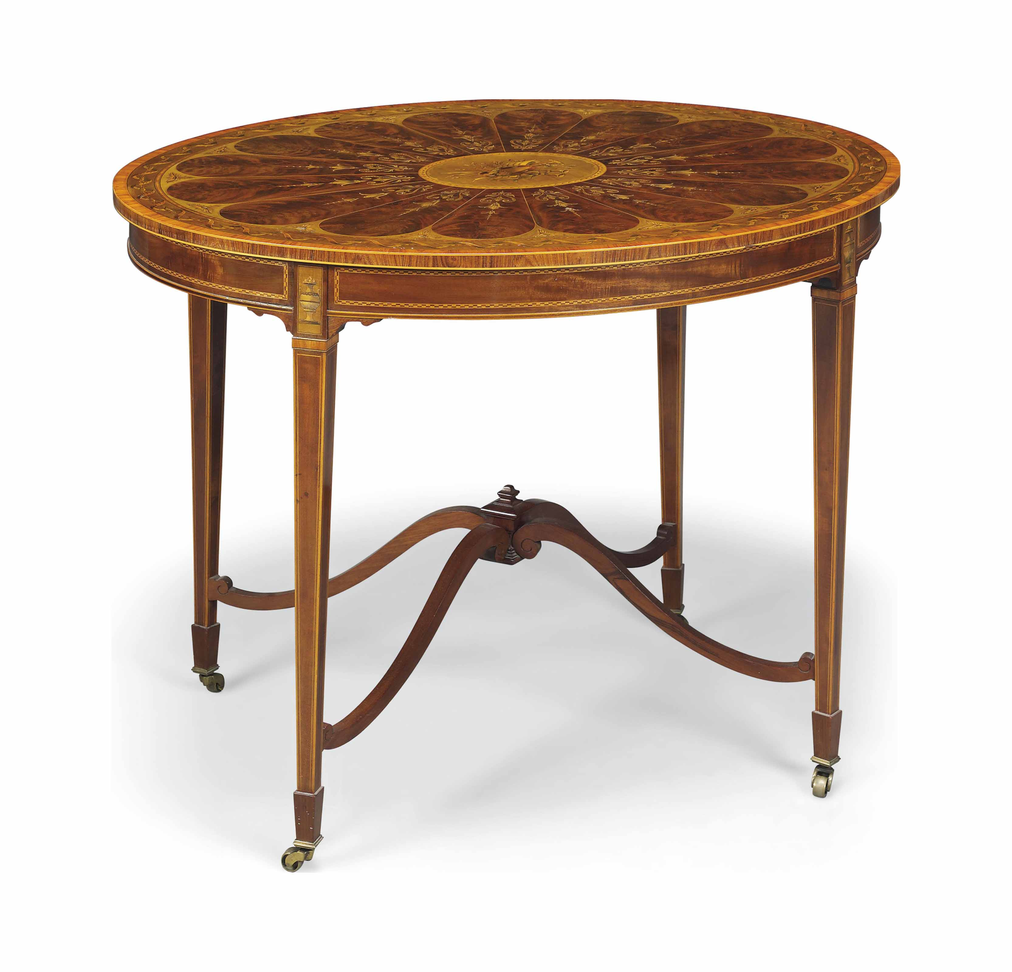 AN EDWARDIAN TULIPWOOD-CROSSBANDED, STAINED-SYCAMORE, MAHOGANY AND MARQUETRY OVAL CENTRE TABLE