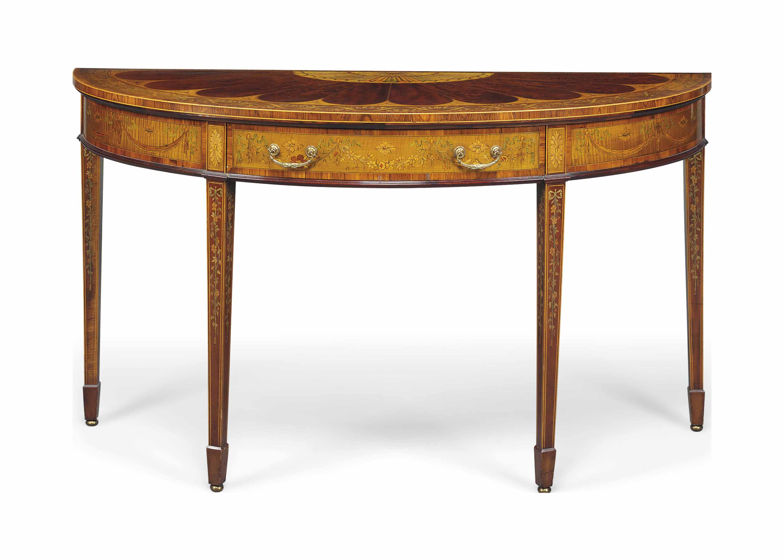 AN EDWARDIAN MAHOGANY, SATINWOOD, KINGWOOD-CROSSBANDED AND MARQUERTY DEMI-LUNE SIDE TABLE