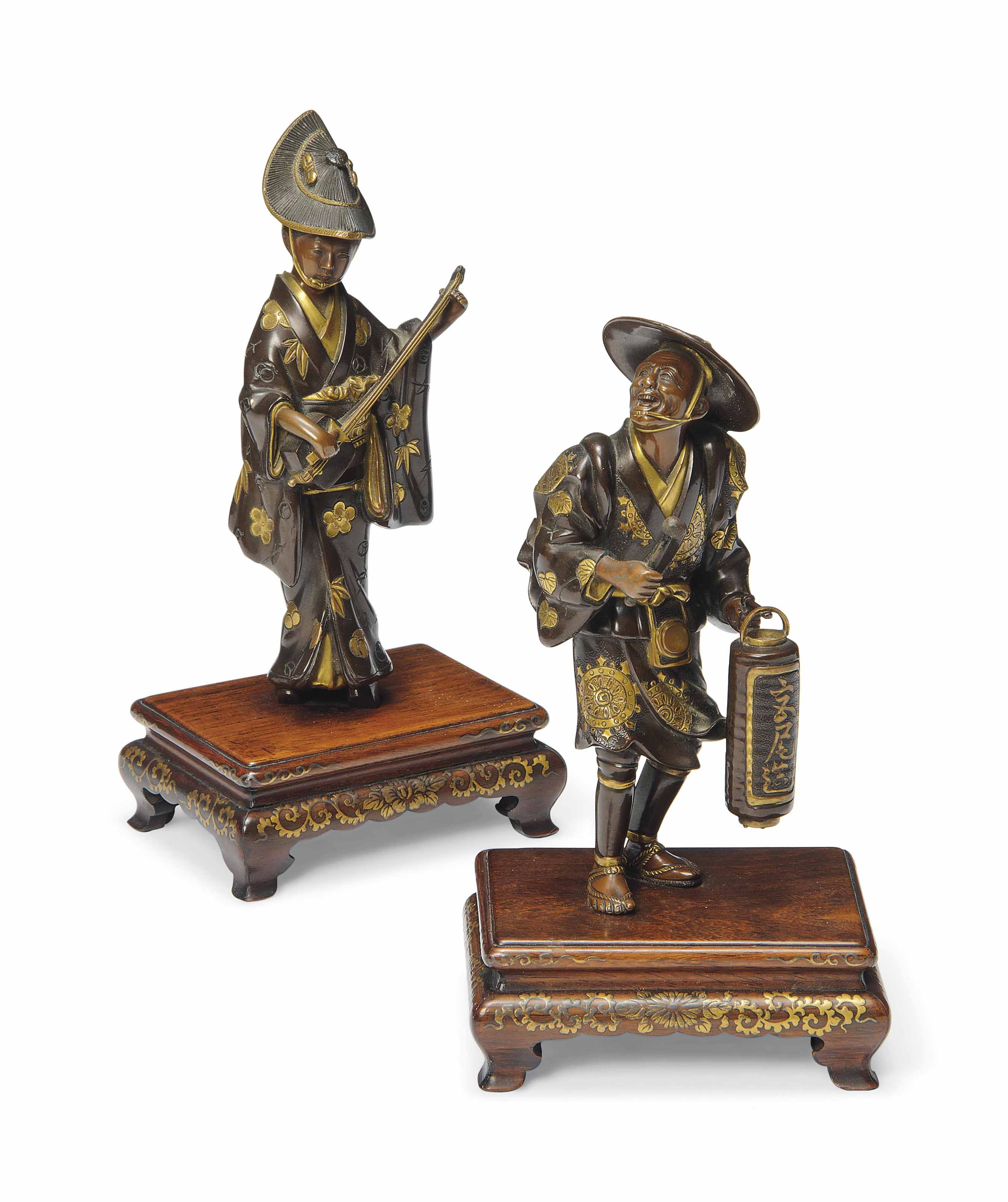 A Pair of Japanese Bronze Okimono [Sculptural Ornament]