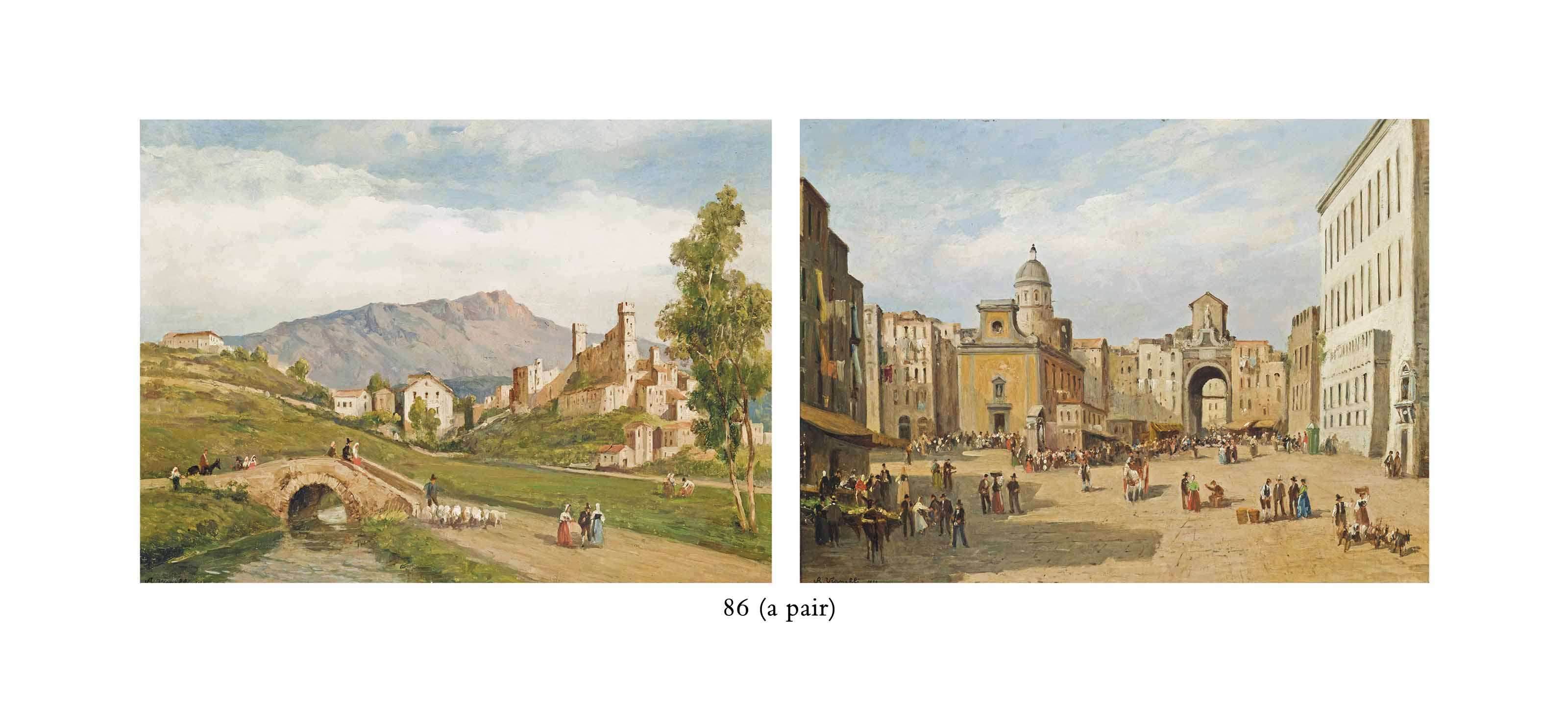 A busy Neapolitan Square; and Figures crossing a bridge before a town