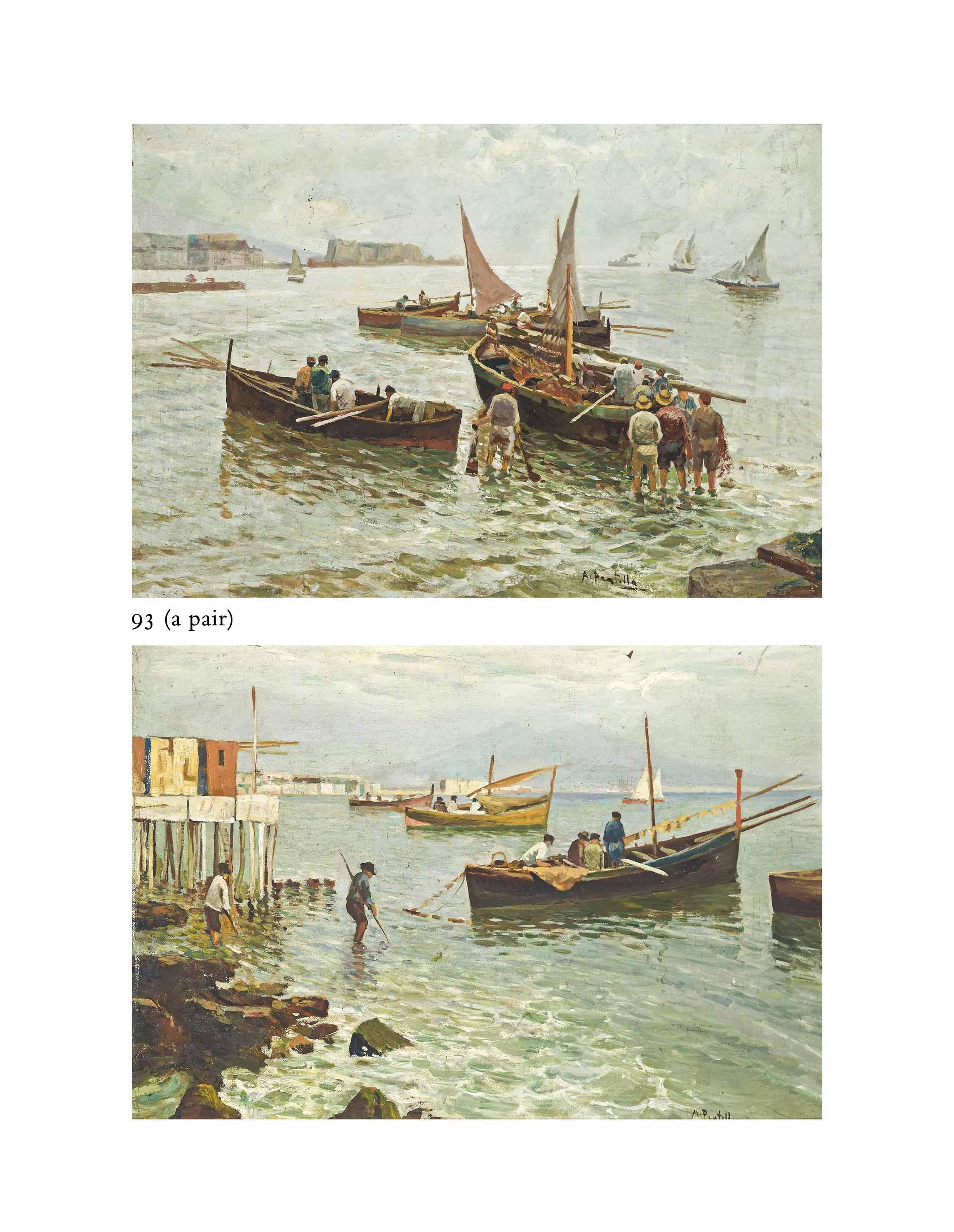 Fisherfolk in the Bay of Naples; and Fisherfolk before Vesuvius