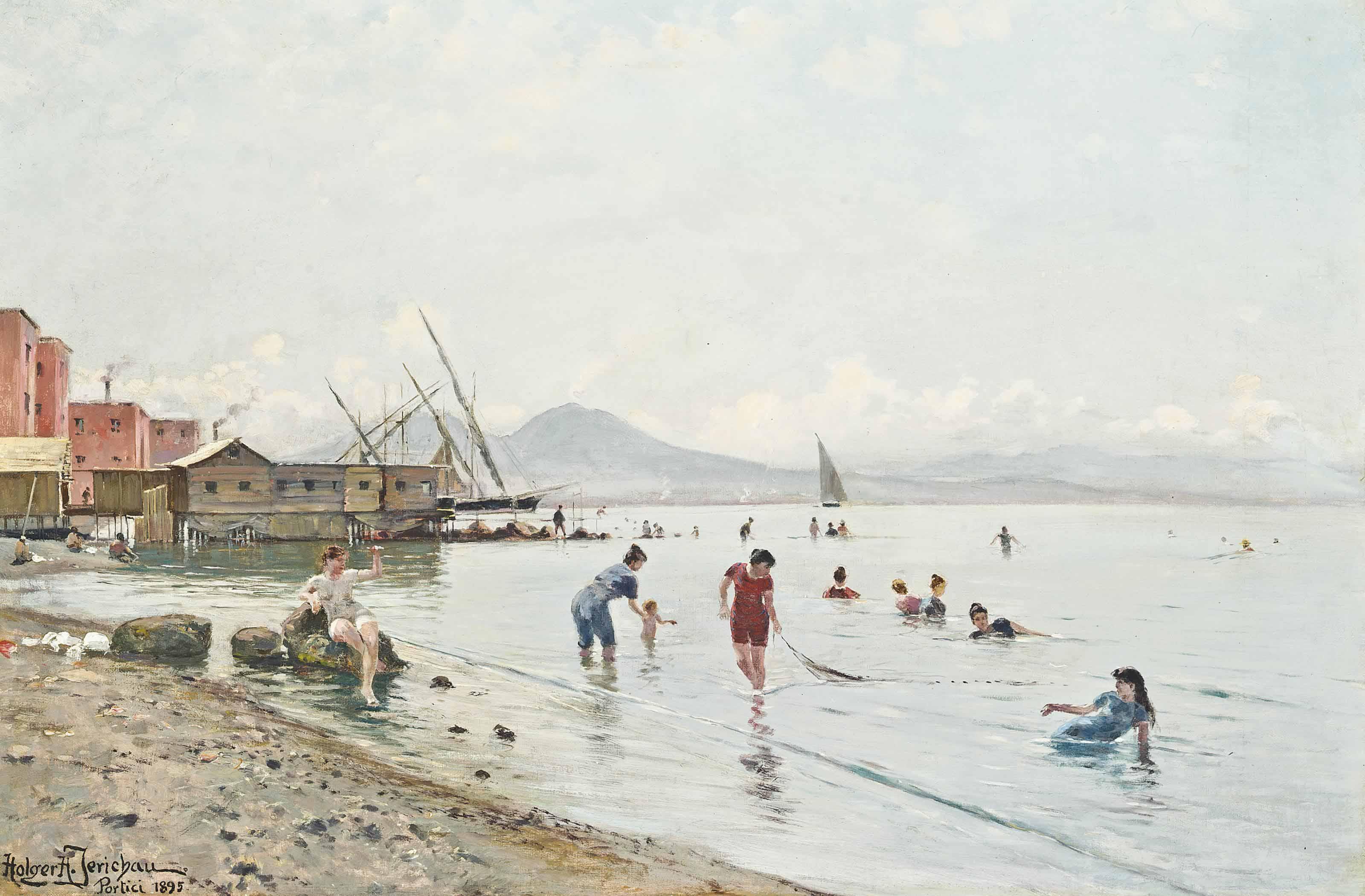 Bathers at Portici , Vesuvius beyond