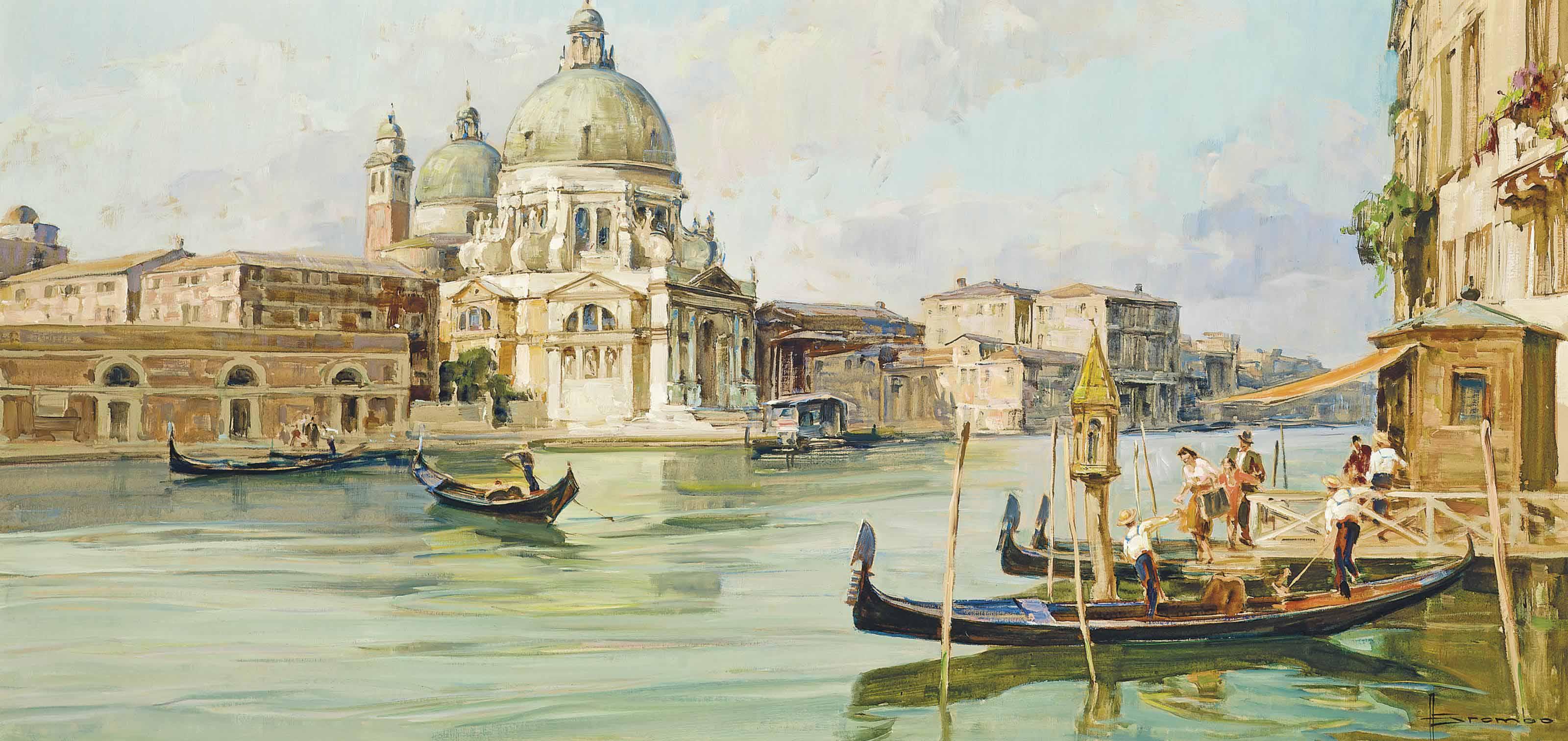 Boarding a gondola at the entrance to the Grand Canal, Santa Maria della Salute beyond