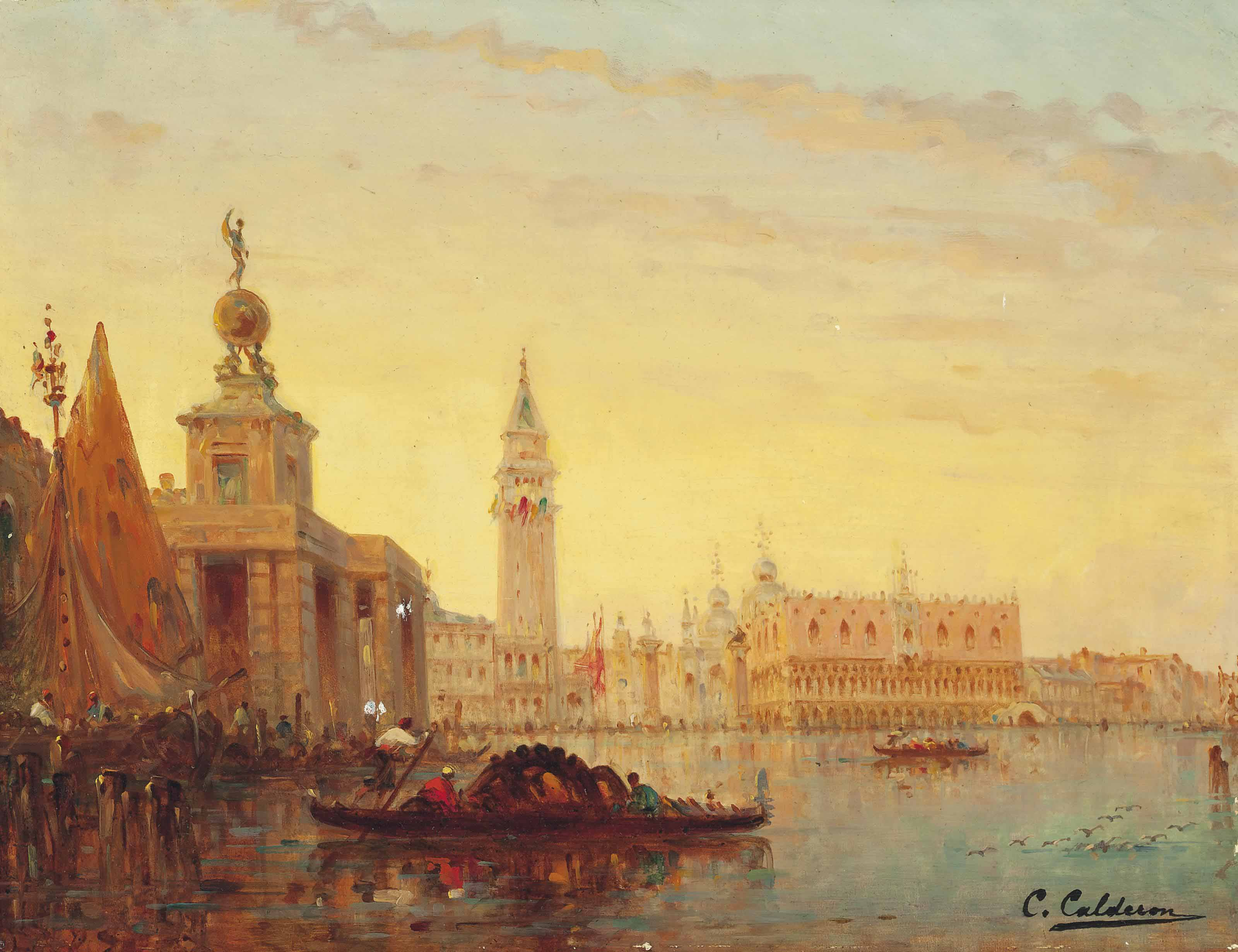 A busy day at the customs house, Venice