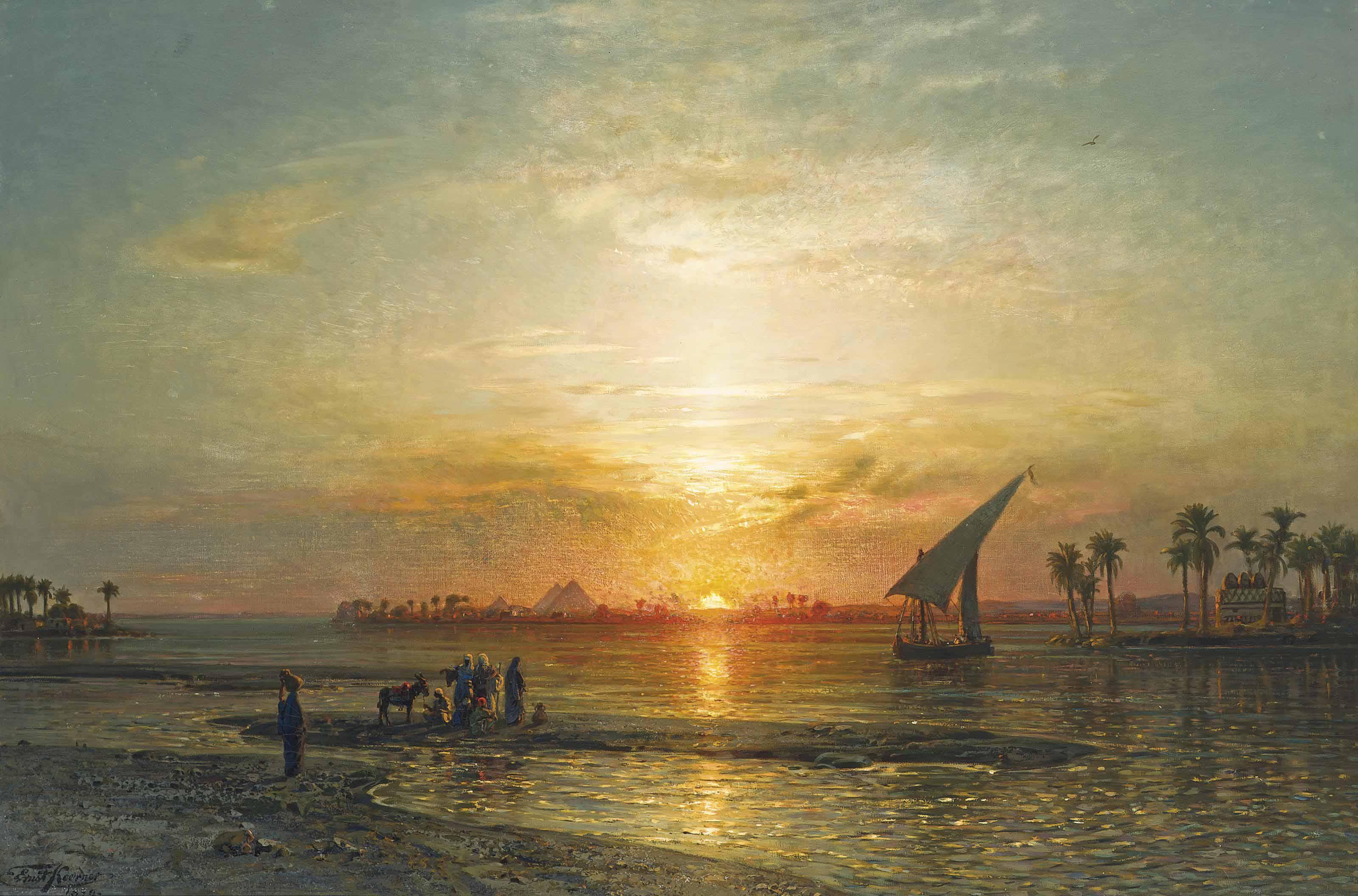 The Nile at Geza, dusk