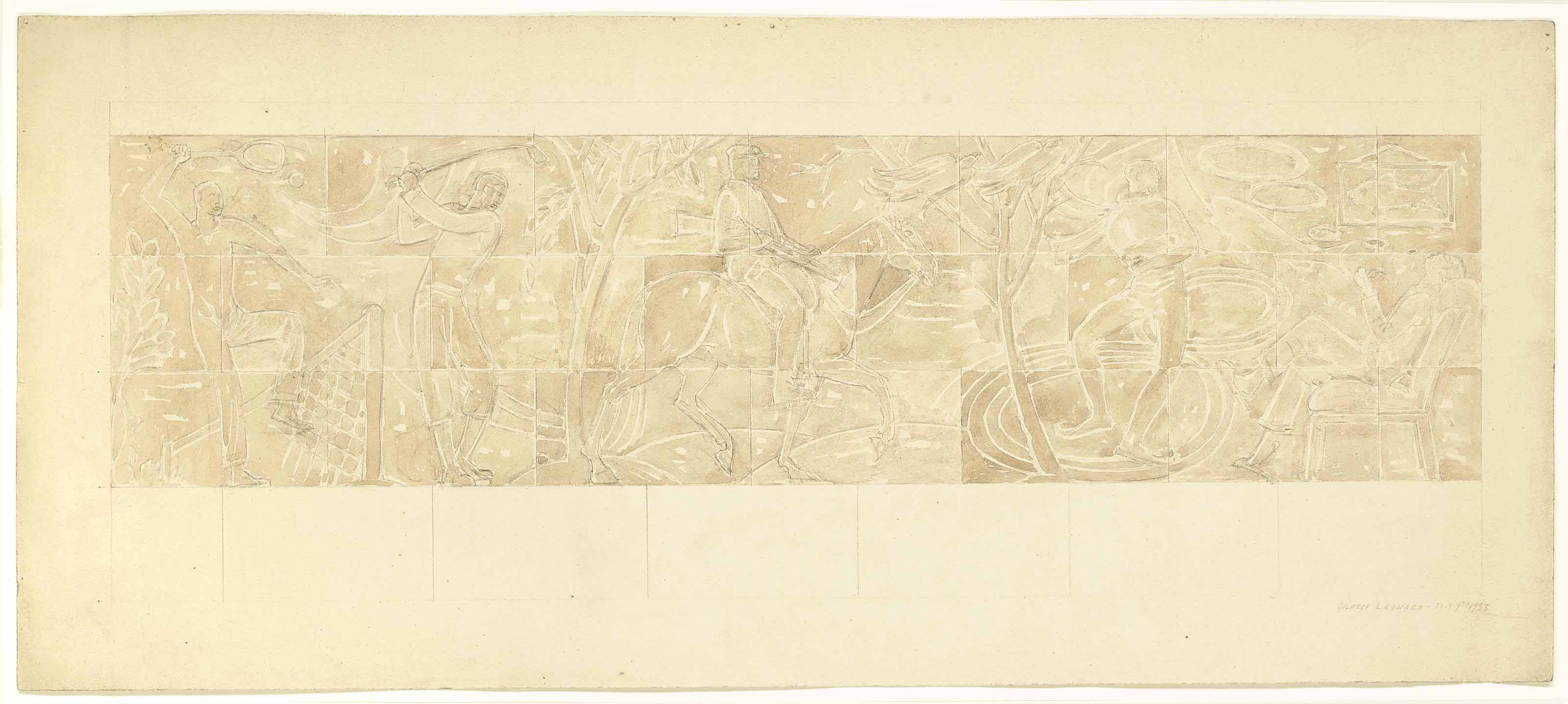 Tennis, Golf, Shooting, Ice-Skating, Dreaming - proposed design for decorative frieze in the Italian drawing room at Eltham Palace, commissioned by Stephen Courtauld