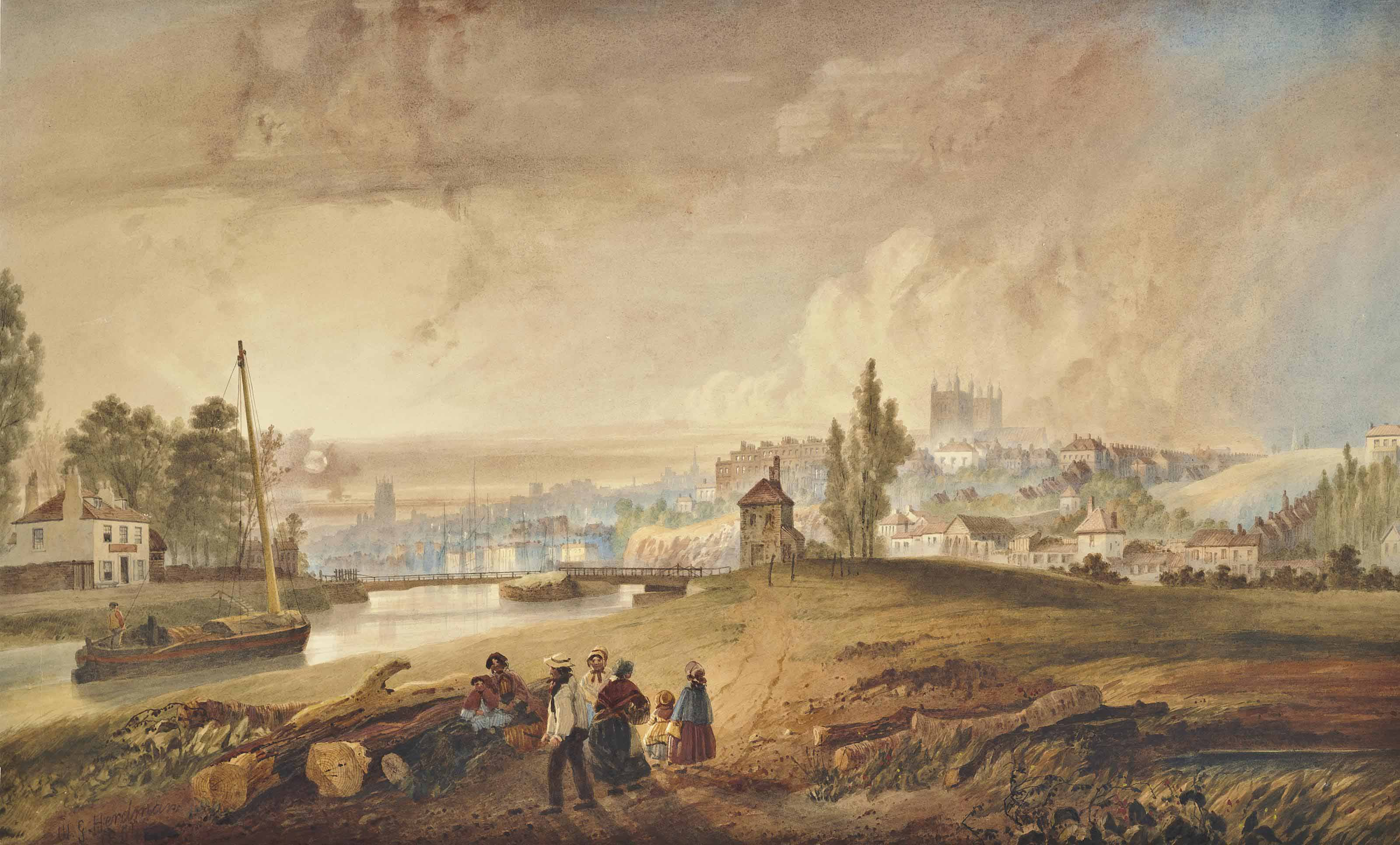 Southeast view of the City of Exeter and its cathedral, early evening with figures in the foreground on the canal towpath