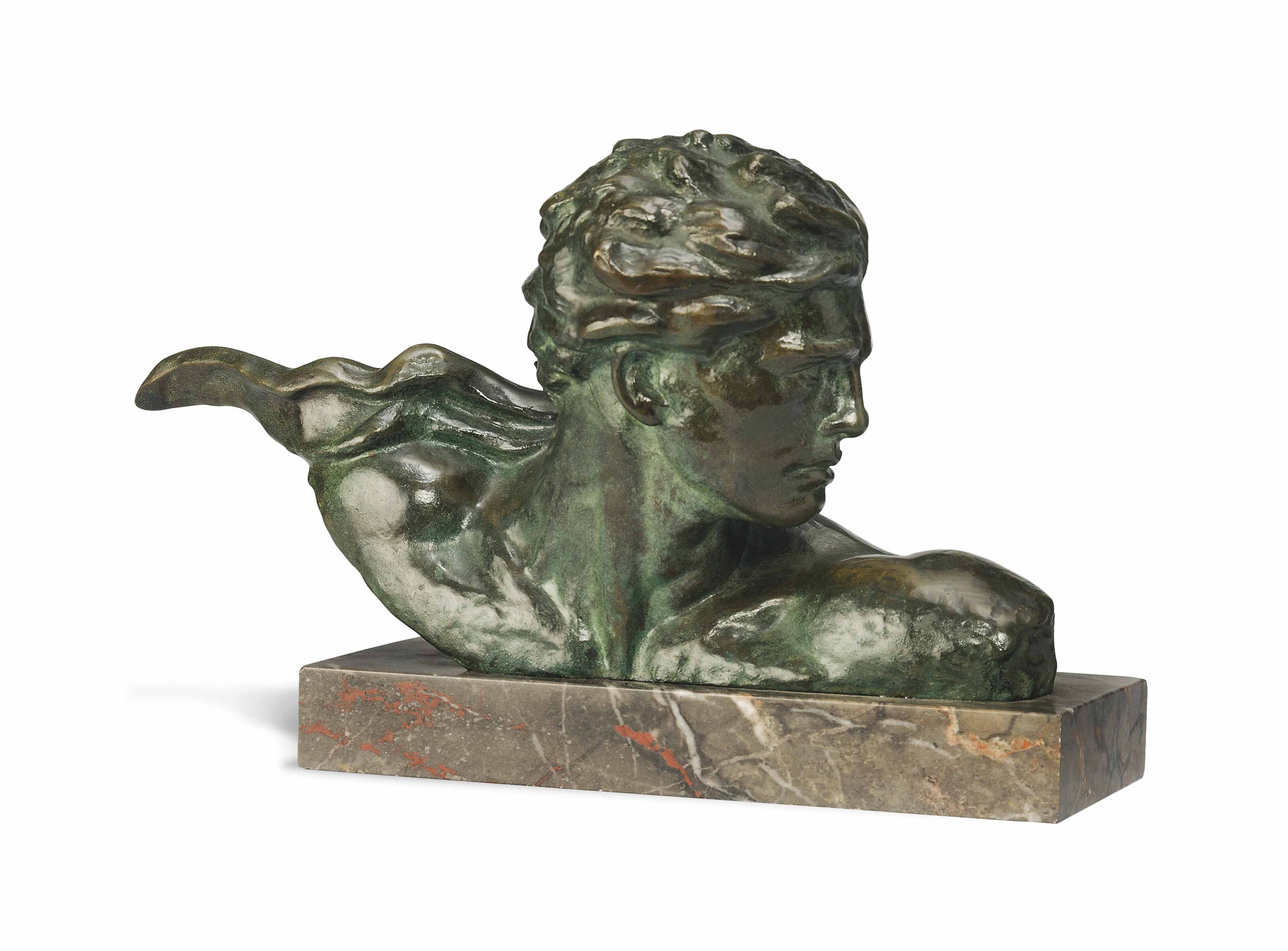 AN ALEXANDRE KELETY COLD-PAINTED AND PATINATED BRONZE BUST