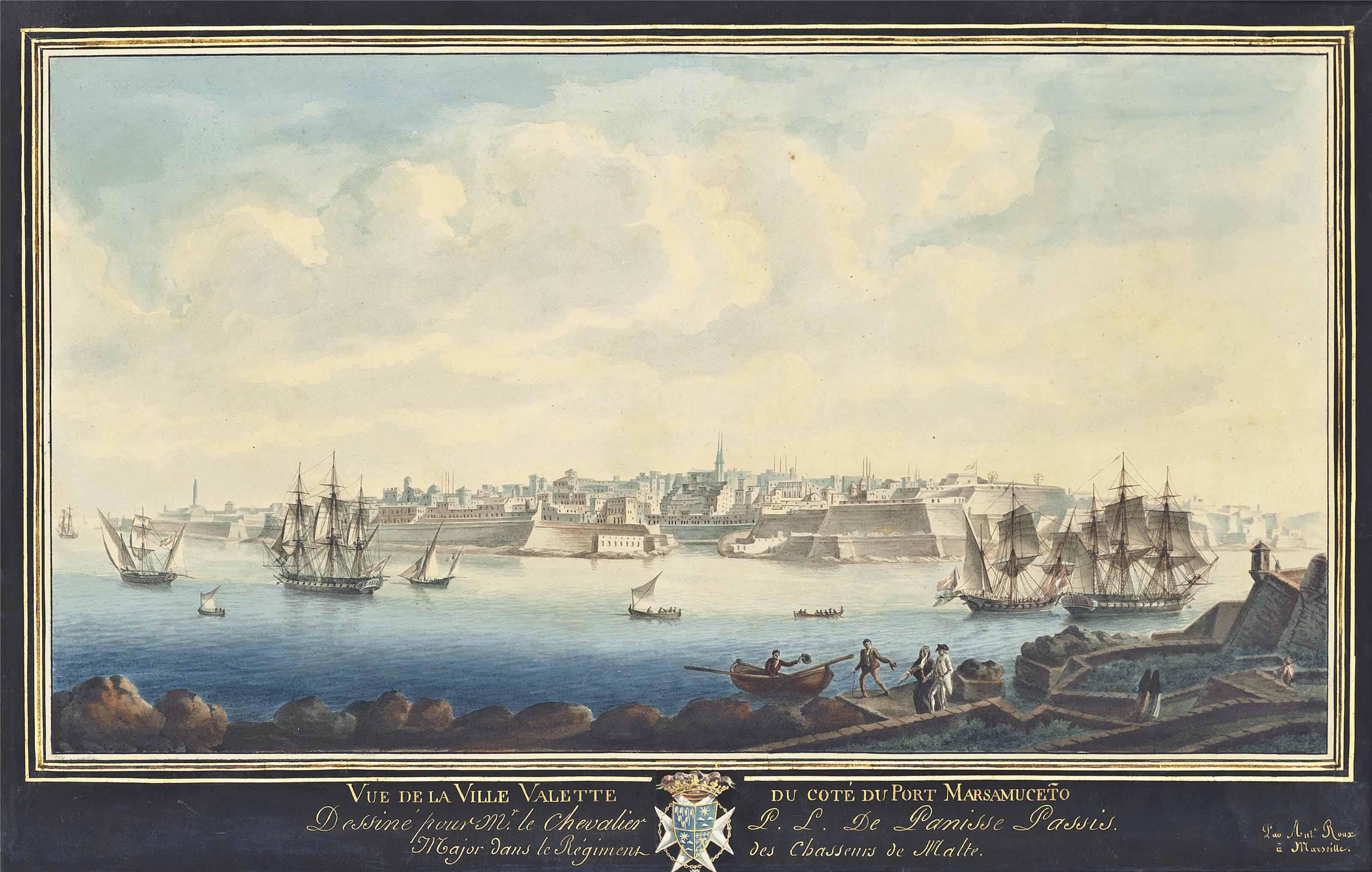 Vue de la ville Valette du côté du Port Marsamuceto