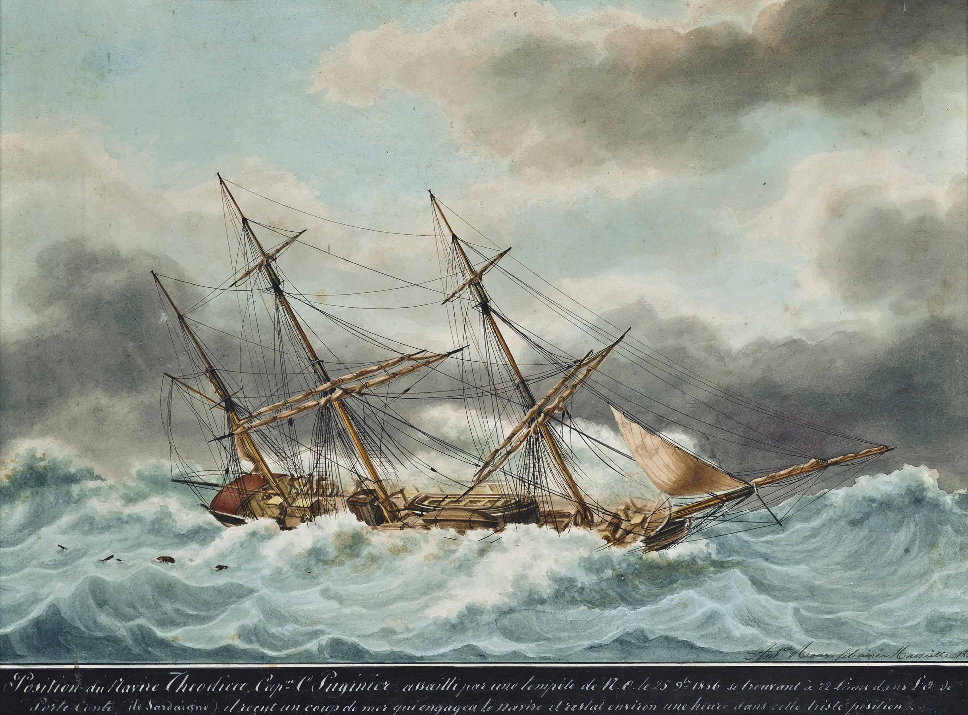 The French barque Theodicee in a gale off the Island off Sardinia
