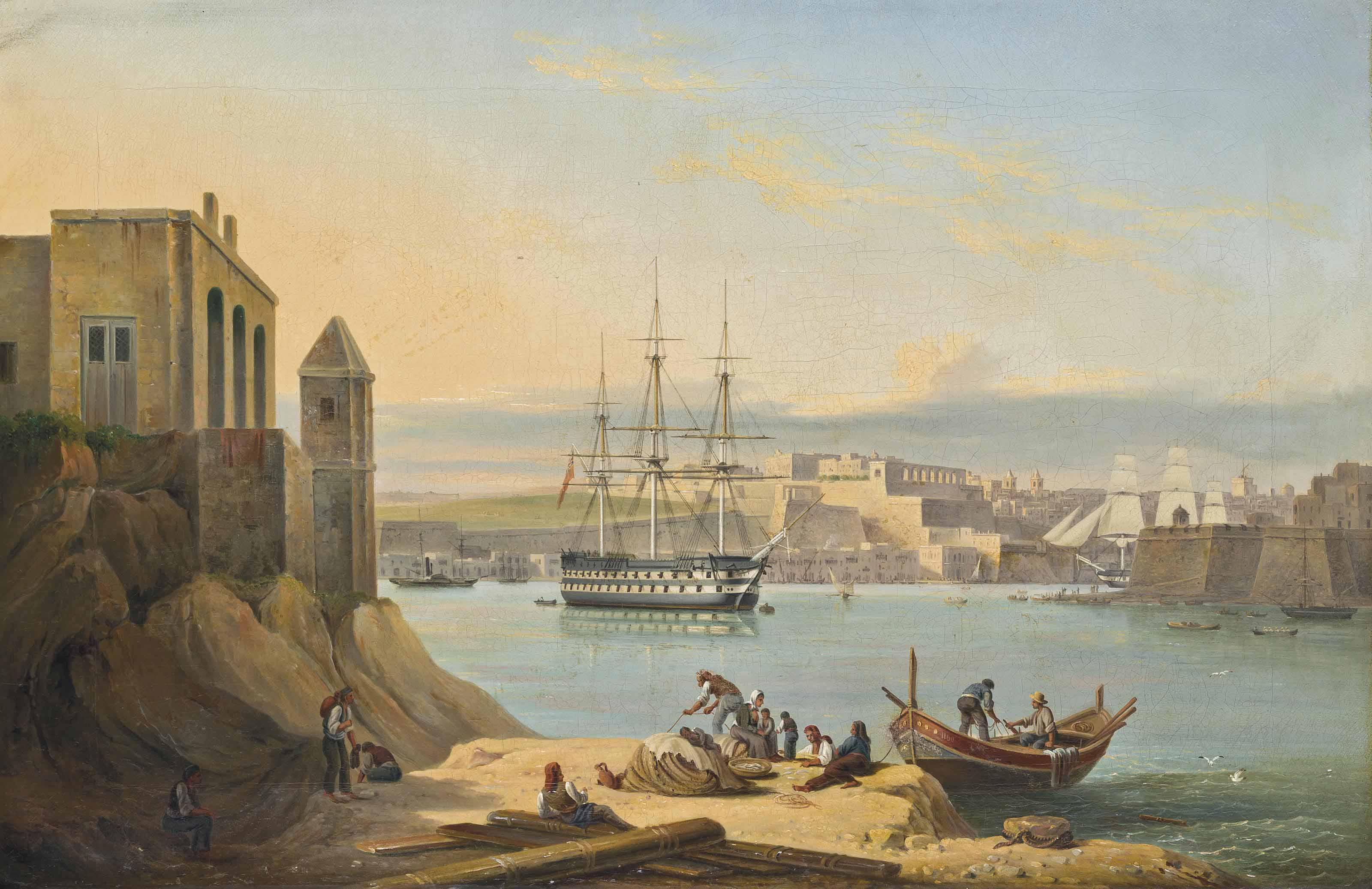The flagship, H.M.S. Asia, lying at anchor in the Grand Harbour, Valetta, Malta