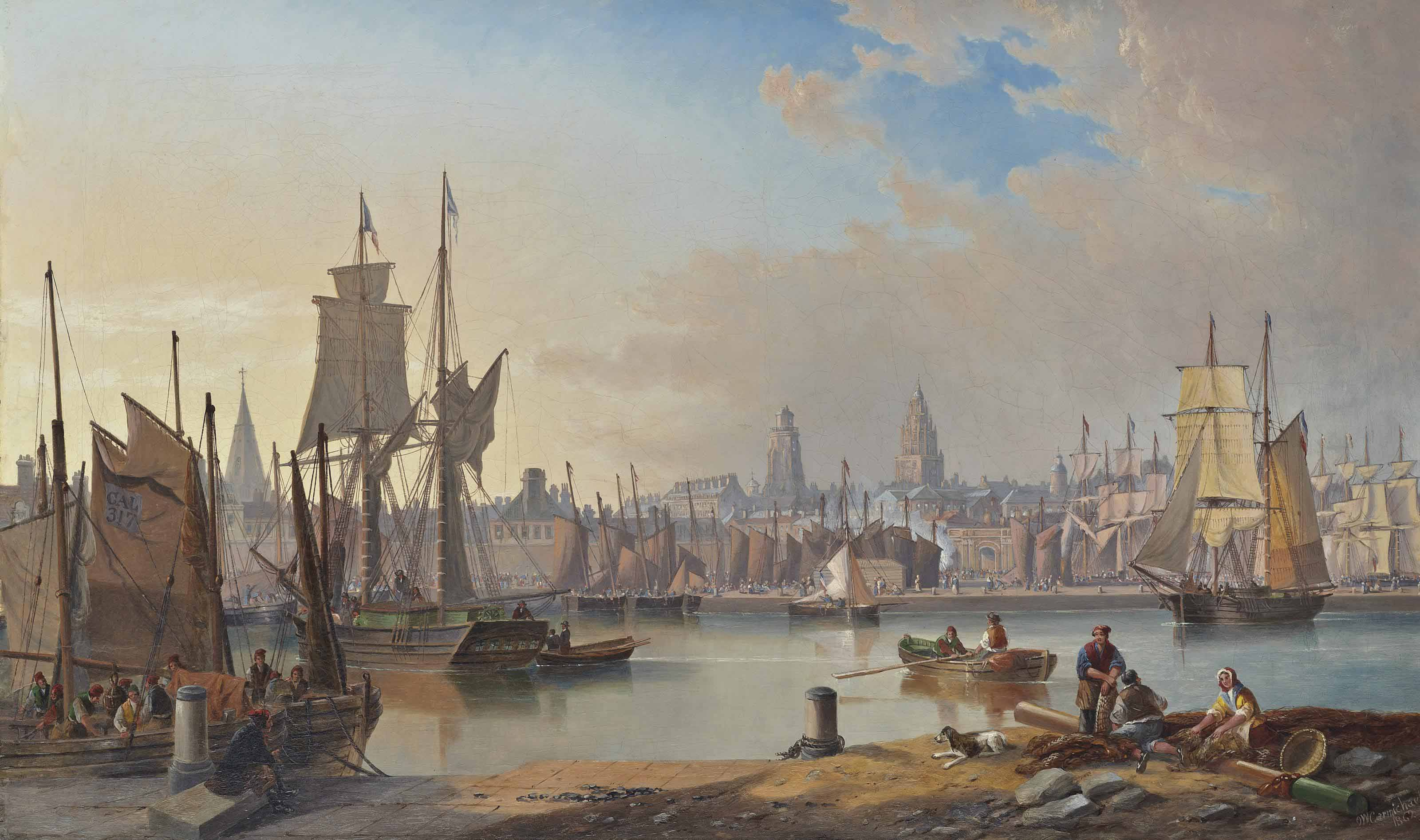 The crowded harbour at Calais