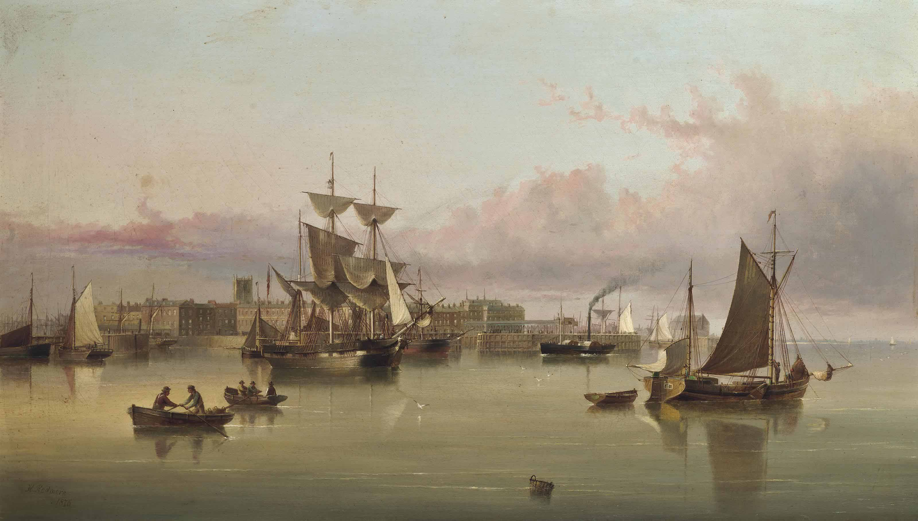 A paddlesteamer coming into the harbour at Hull at dusk, with trading brigs and other shipping at anchor